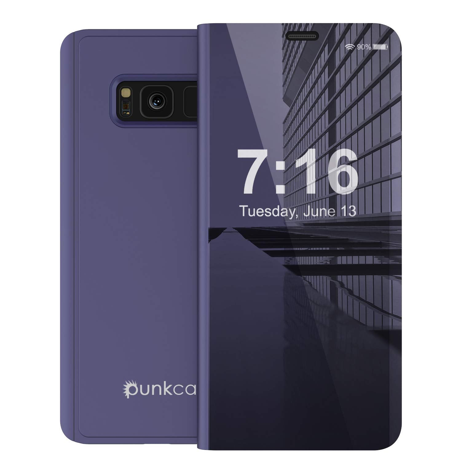 Punkcase S8 Plus Reflector Case Protective Flip Cover [Purple]