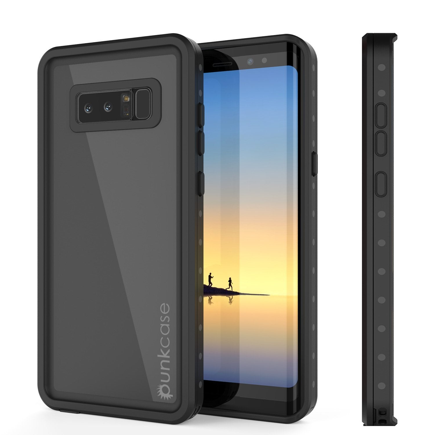 Note 8 Waterproof Case PunkCase StudStar Black Thin 6.6ft Underwater IP68 Shock/Snow Proof