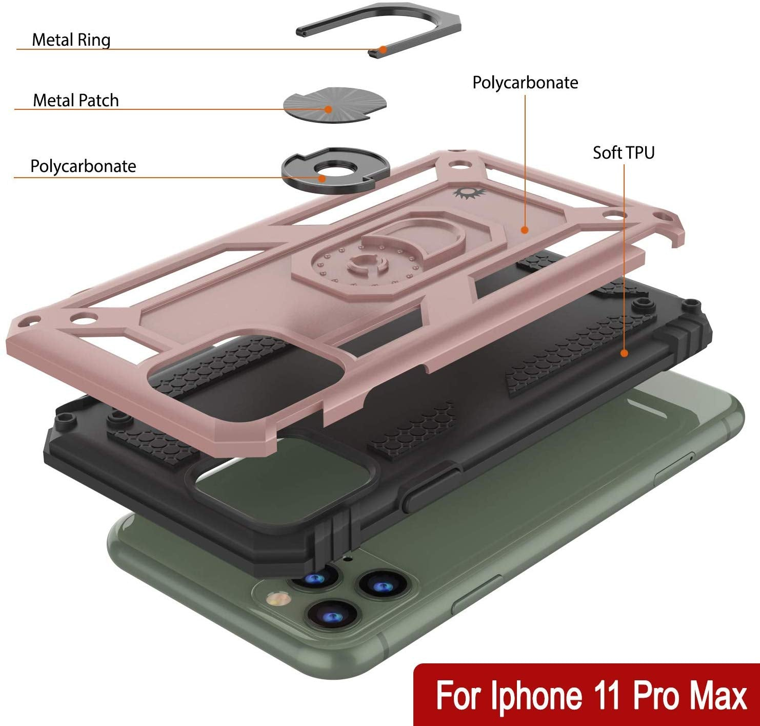 Apple iPhone 11 Pro Max Punkcase ArmorShield Military Style Case Rose-Gold