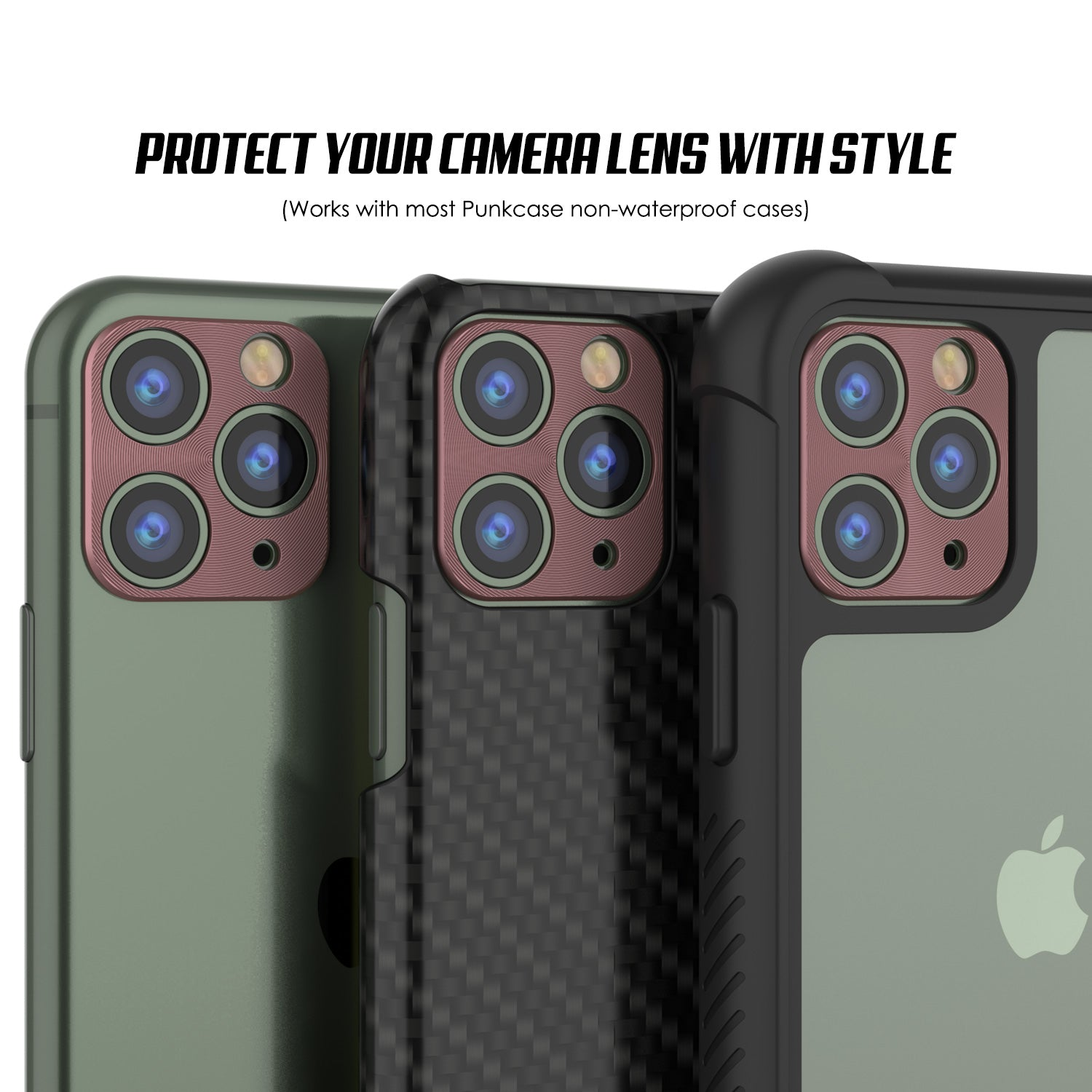 Punkcase iPhone 11 Pro Max Camera Protector Ring [Rose-Gold]
