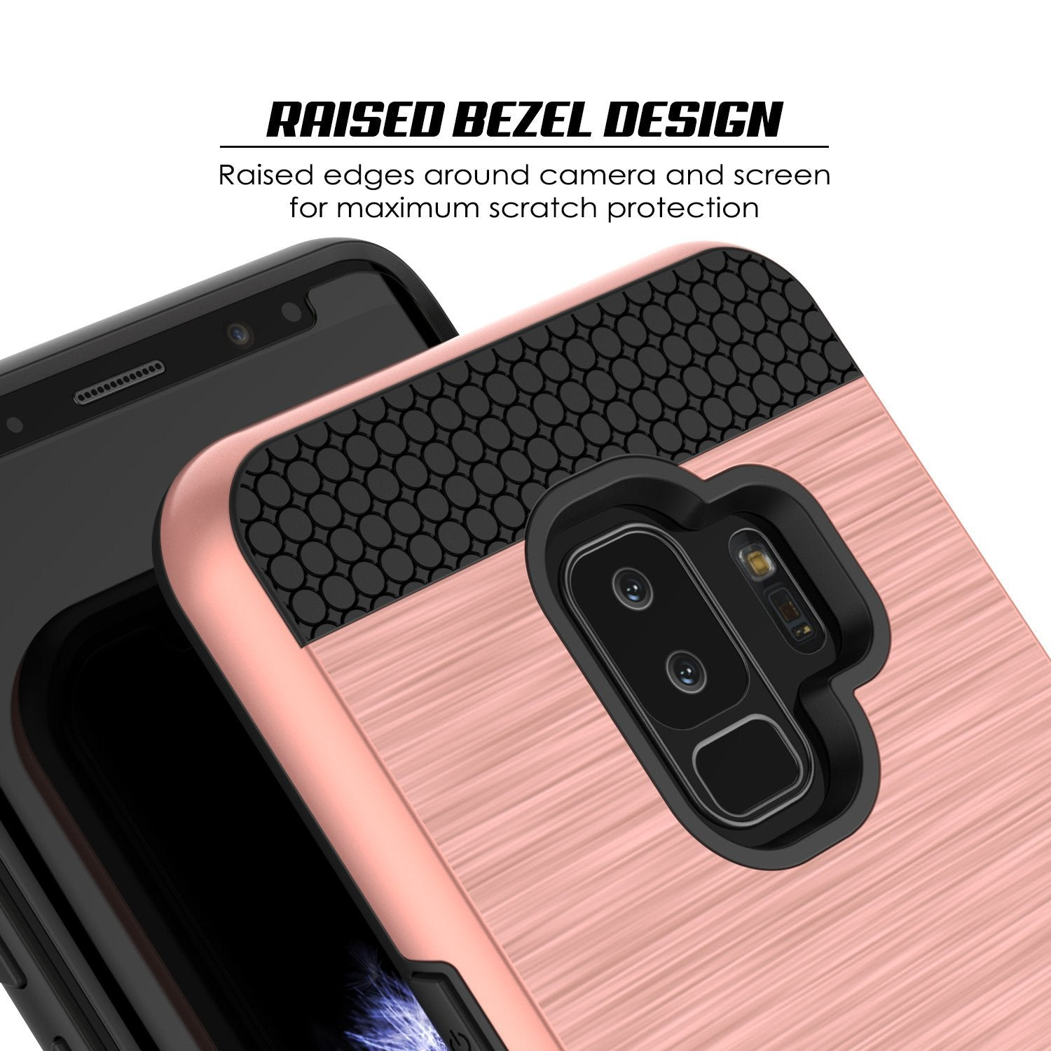 Galaxy S9 Plus Case, PUNKcase [SLOT Series] [Slim Fit] Dual-Layer Armor Rose Gold Cover