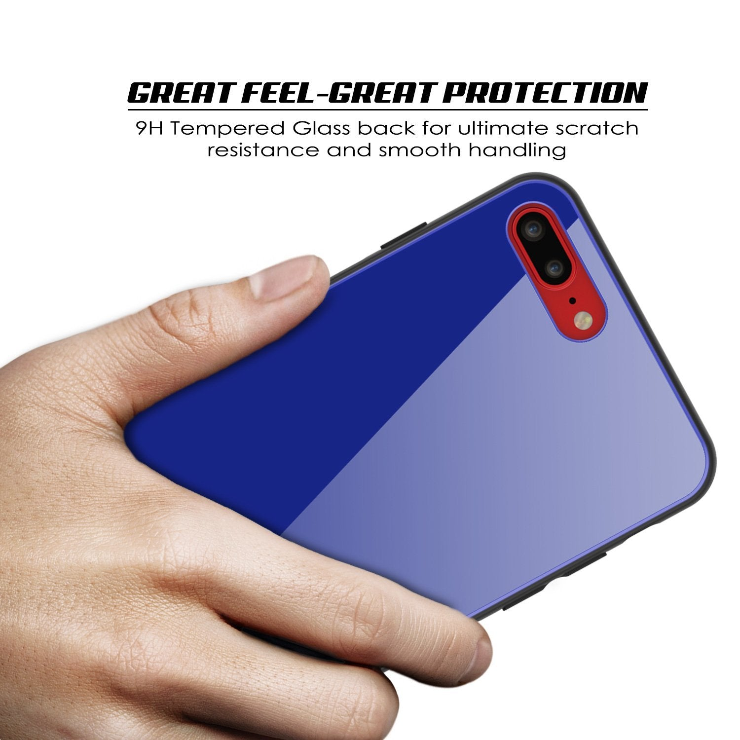 iPhone 8 PLUS Case, Punkcase GlassShield Ultra Thin Protective 9H Full Body Tempered Glass Cover W/ Drop Protection & Non Slip Grip for Apple iPhone 7 PLUS / Apple iPhone 8 PLUS (Blue)