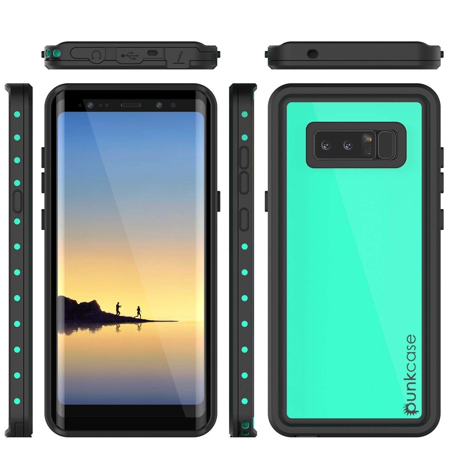 Note 8 Waterproof Case PunkCase StudStar Teal Thin 6.6ft Underwater IP68 Shock/Snow Proof
