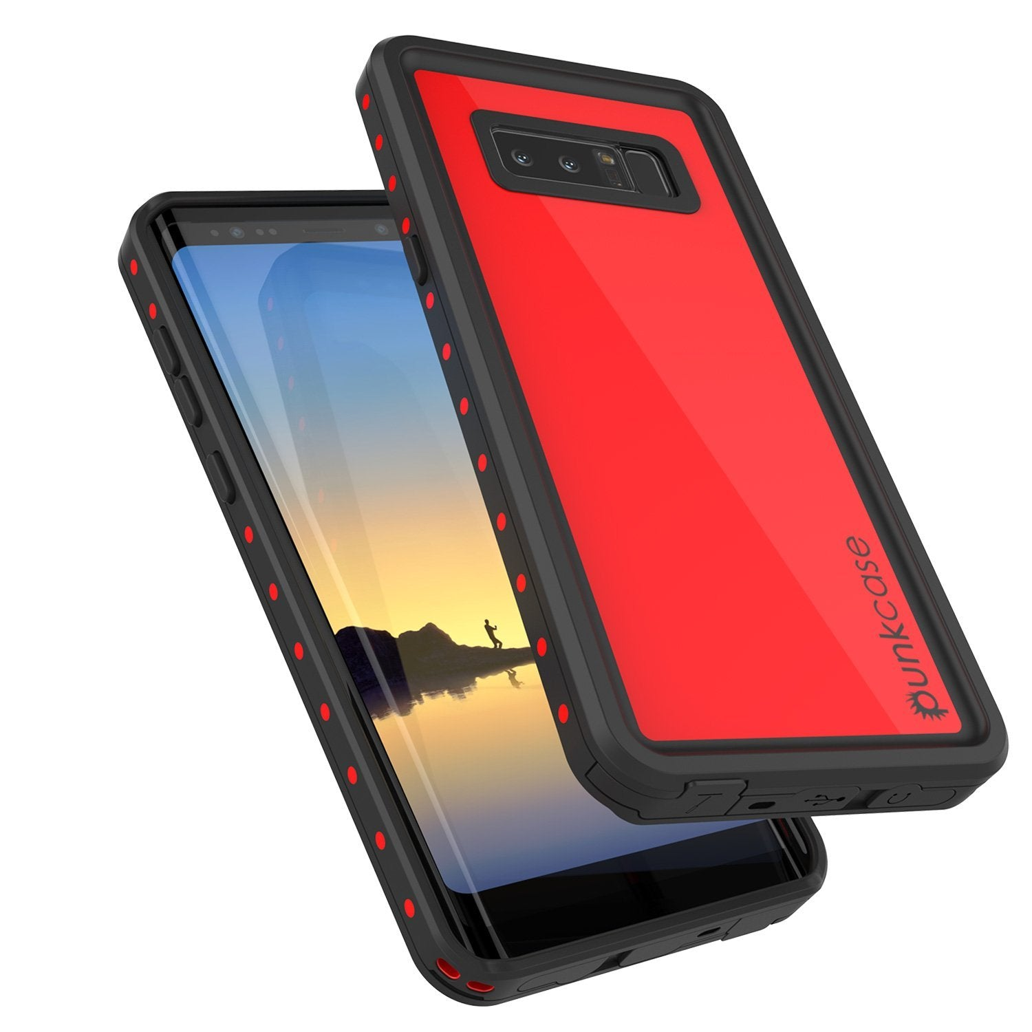 Note 8 Waterproof Case PunkCase StudStar Red Thin 6.6ft Underwater IP68 Shock/Snow Proof