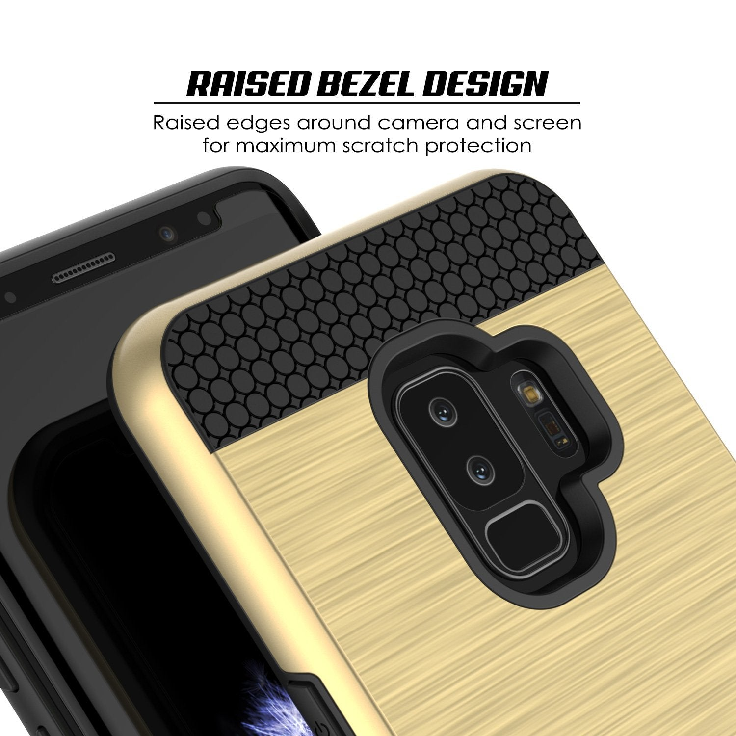 Galaxy S9 Plus Case, PUNKcase [SLOT Series] [Slim Fit] Dual-Layer Armor Gold Cover