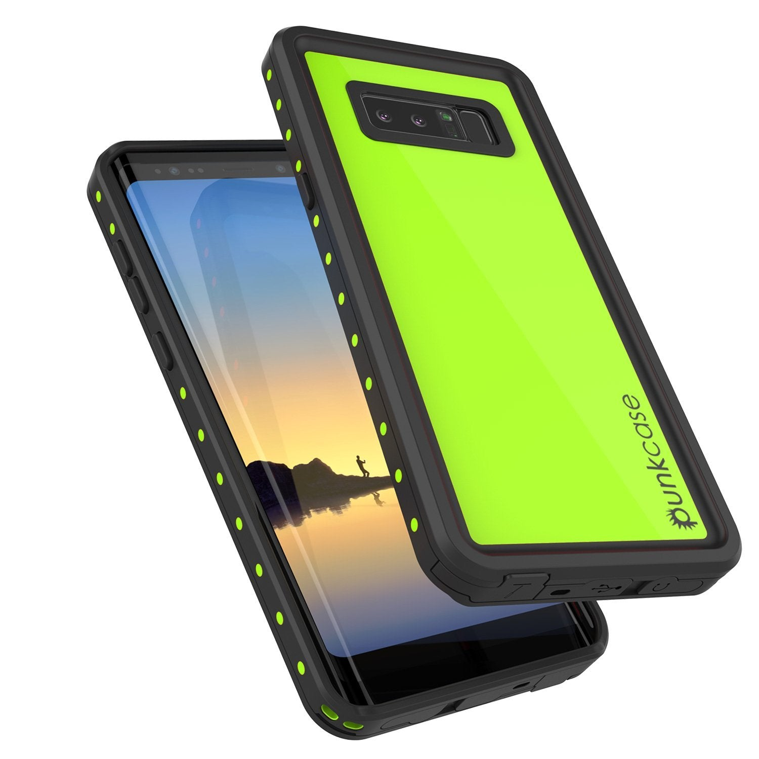 Galaxy Note 8 Waterproof Case PunkCase StudStar Light Green Thin 6.6ft Underwater IP68 ShockProof