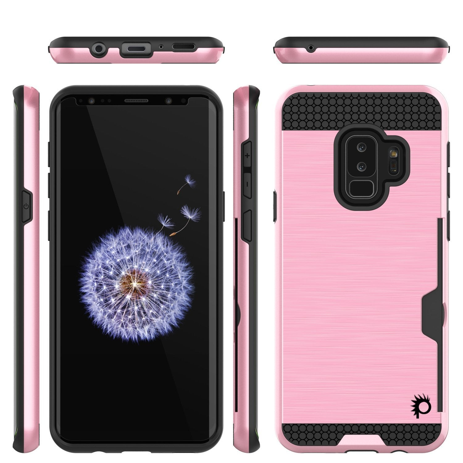 Galaxy S9 Plus Case, PUNKcase [SLOT Series] [Slim Fit] Dual-Layer Armor Cover w/Integrated Anti-Shock System [Pink]