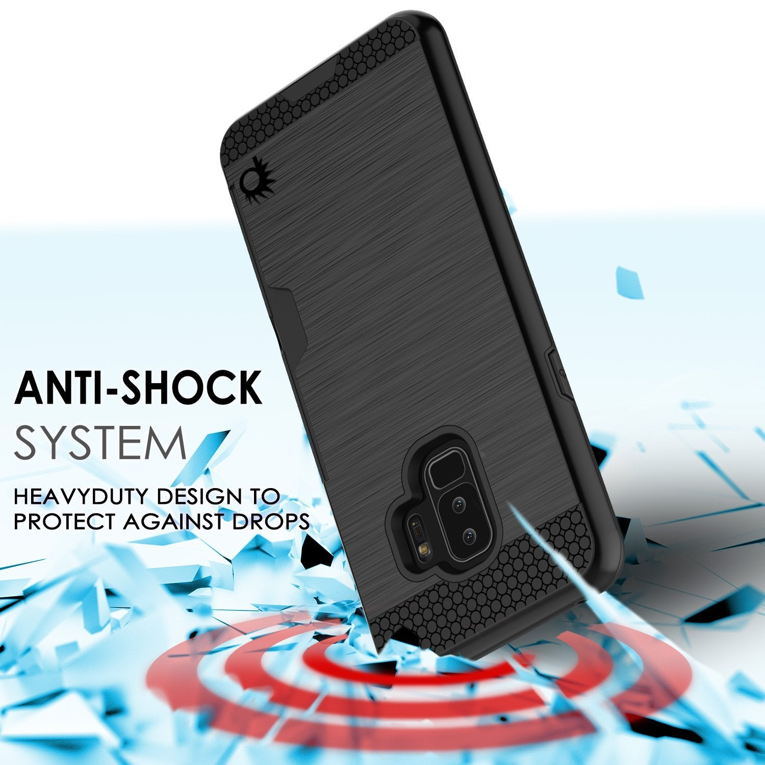 Galaxy S9 Plus Case, PUNKcase [SLOT Series] [Slim Fit] Dual-Layer Armor Black Cover