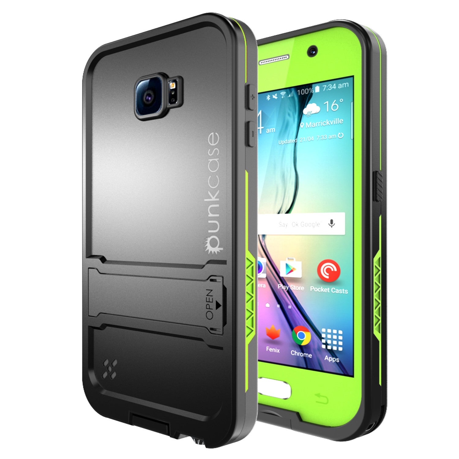 Galaxy S6 Waterproof Case, Punkcase SpikeStar Light Green Water/Shock/Dirt Proof | Lifetime Warranty