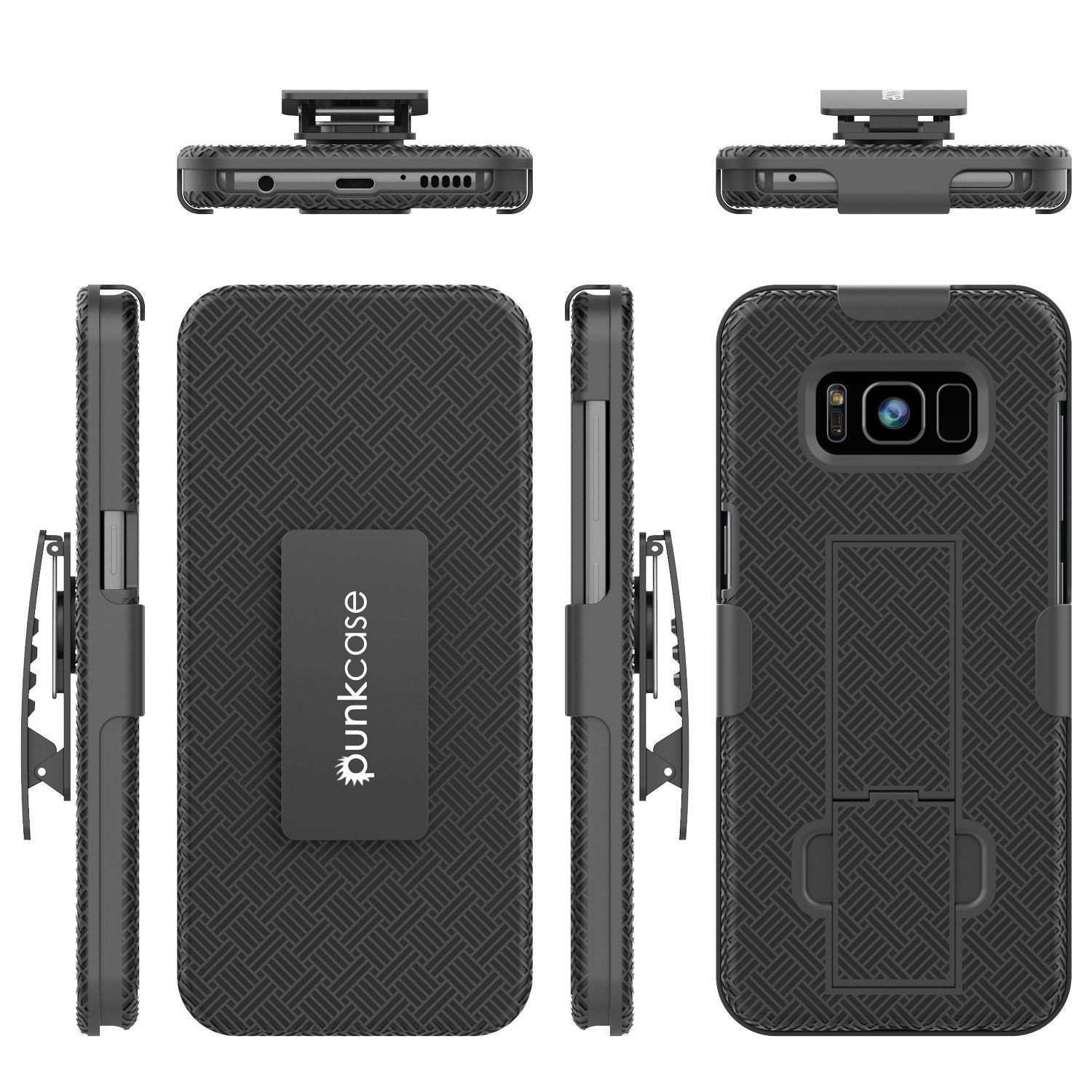 Punkcase Galaxy S8+ Plus Case, With PunkShield Glass Screen Protector, Holster Belt Clip [Black]