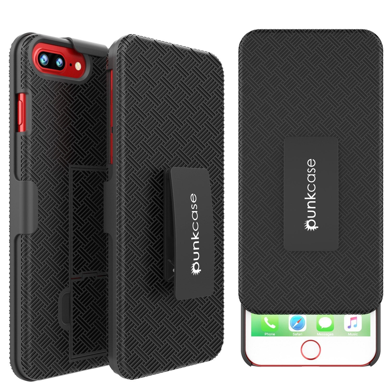 cheaper 6573e 91cd0 Punkcase iPhone 8+ / 7+ Plus Case With Tempered Glass Screen Protector,  Holster Belt Clip & Built-In Kickstand [Black]