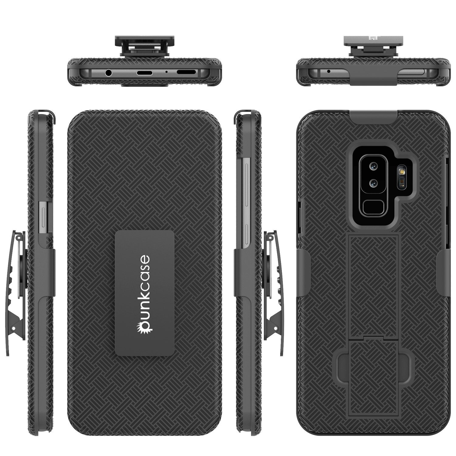 Punkcase Galaxy S9 PLUS Case With Screen Protector, Holster Belt Clip [Black]