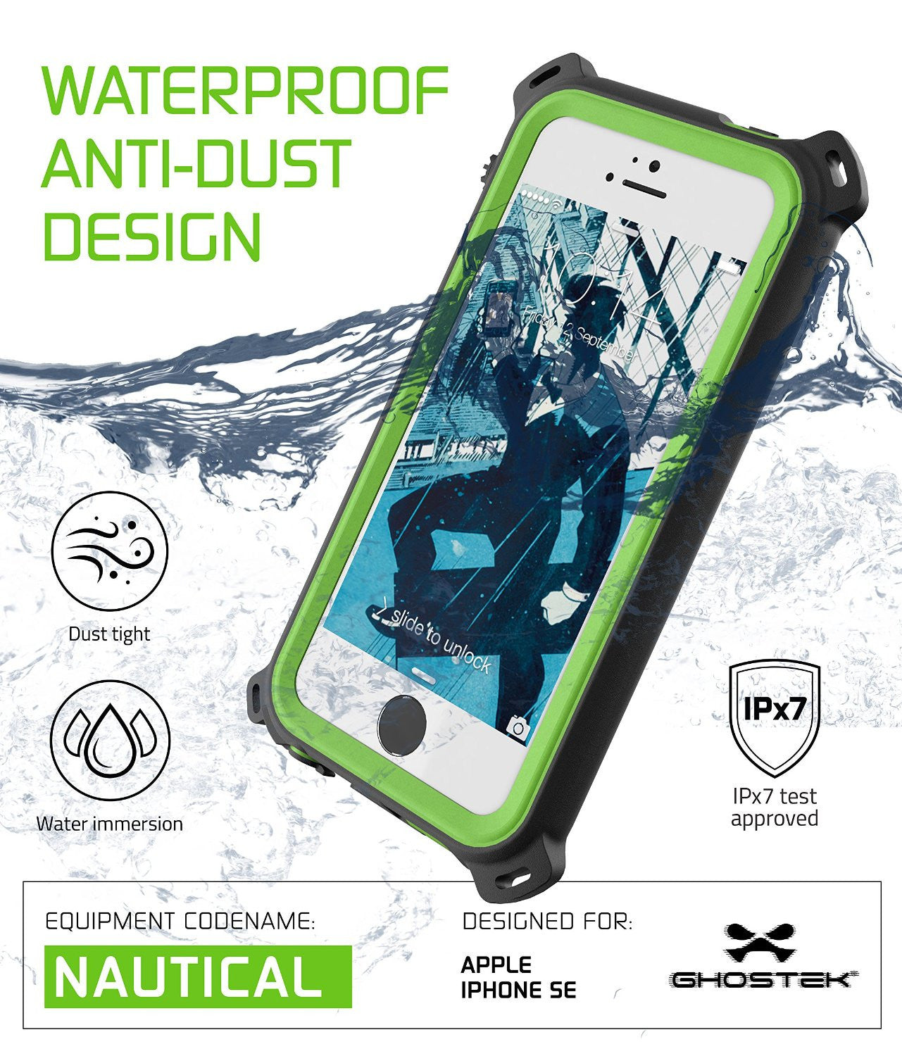 iPhone SE/5S/5 Waterproof Case, Ghostek® Nautical Green Series| Underwater | Aluminum Frame