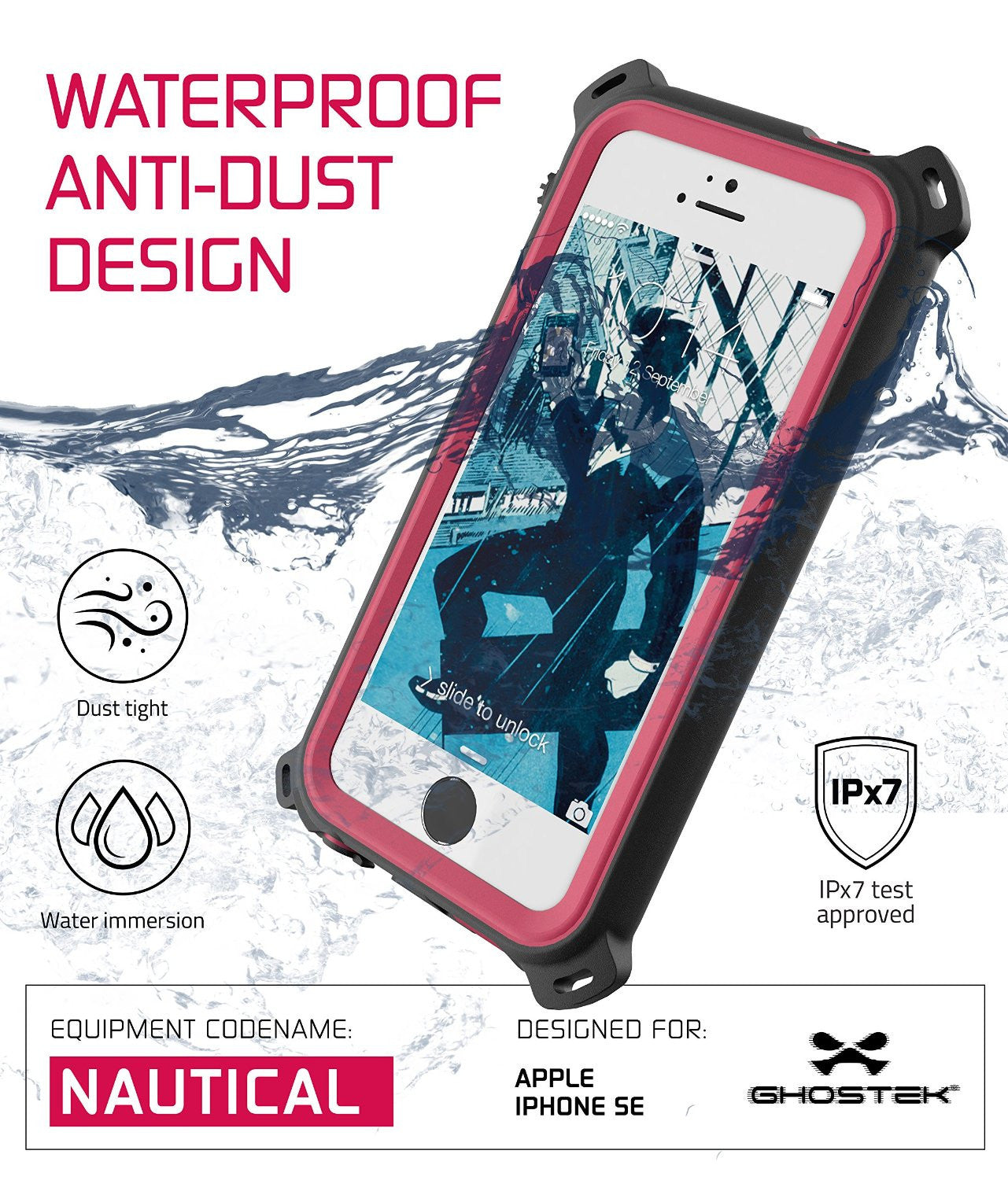 iPhone SE/5S/5 Waterproof Case, Ghostek® Nautical Pink Series| Underwater | Aluminum Frame