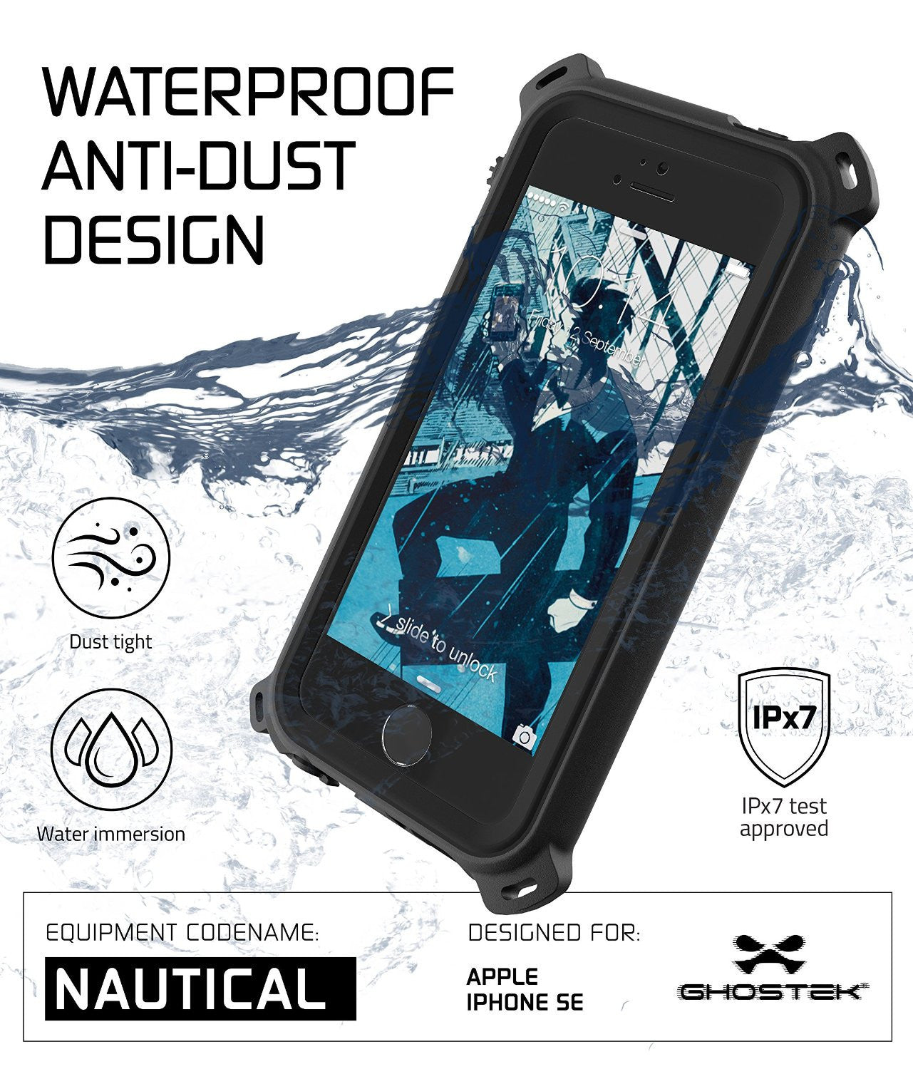 iPhone SE/5S/5 Waterproof Case, Ghostek® Nautical Black Series| Underwater | Aluminum Frame