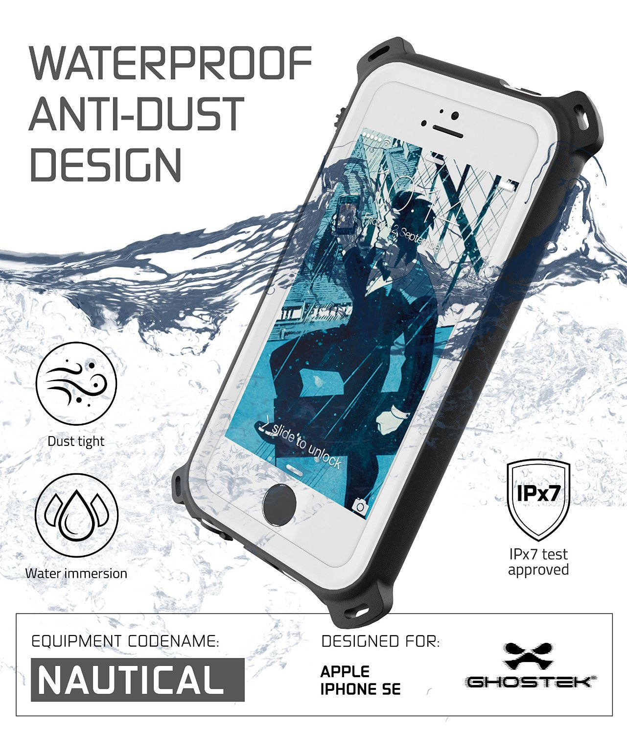 iPhone SE/5S/5 Waterproof Case, Ghostek® Nautical White Series| Underwater | Aluminum Frame