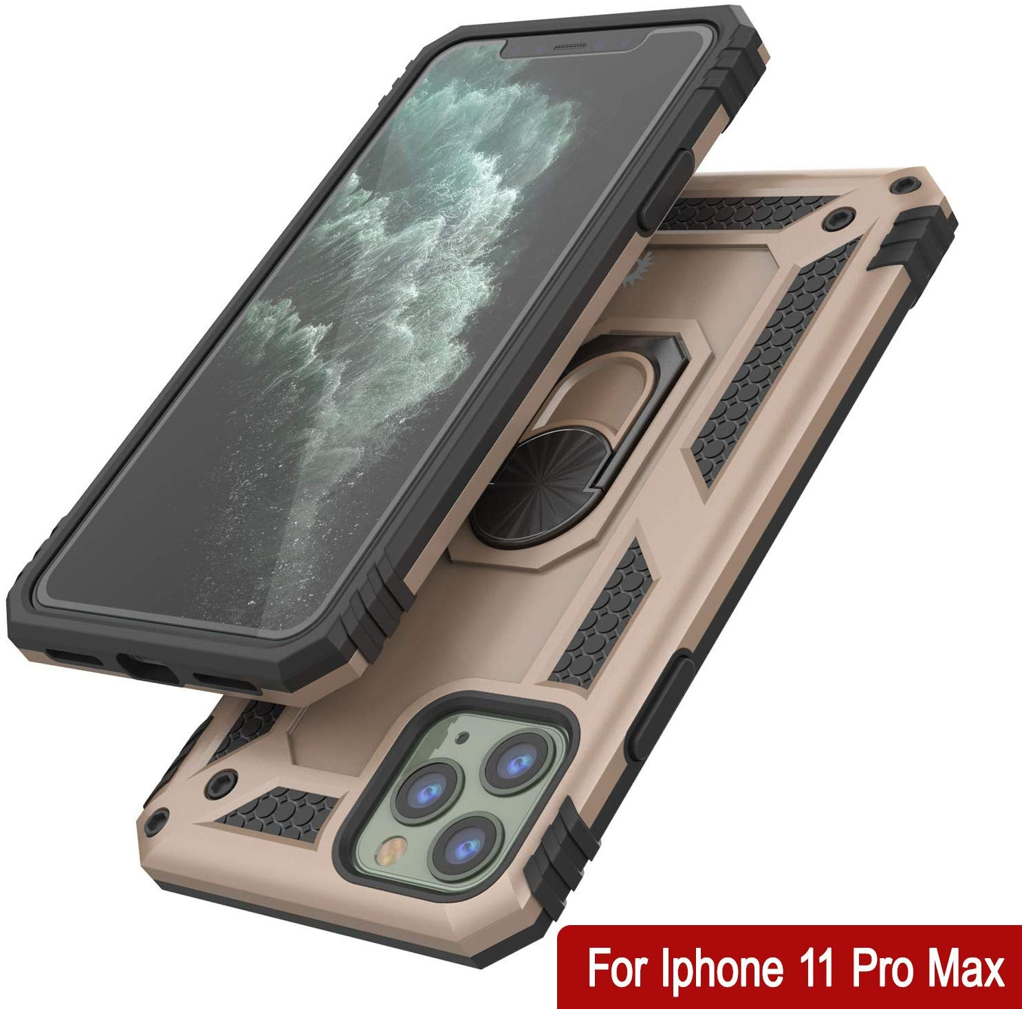 Apple iPhone 11 Pro Max Punkcase ArmorShield Military Style Case Gold