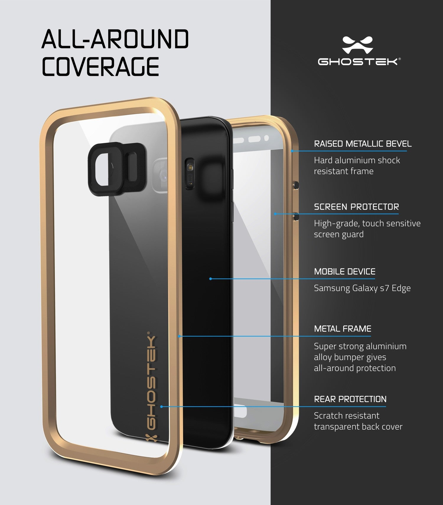 galaxy s7 edge waterproof case ghostek atomic 2 0 gold