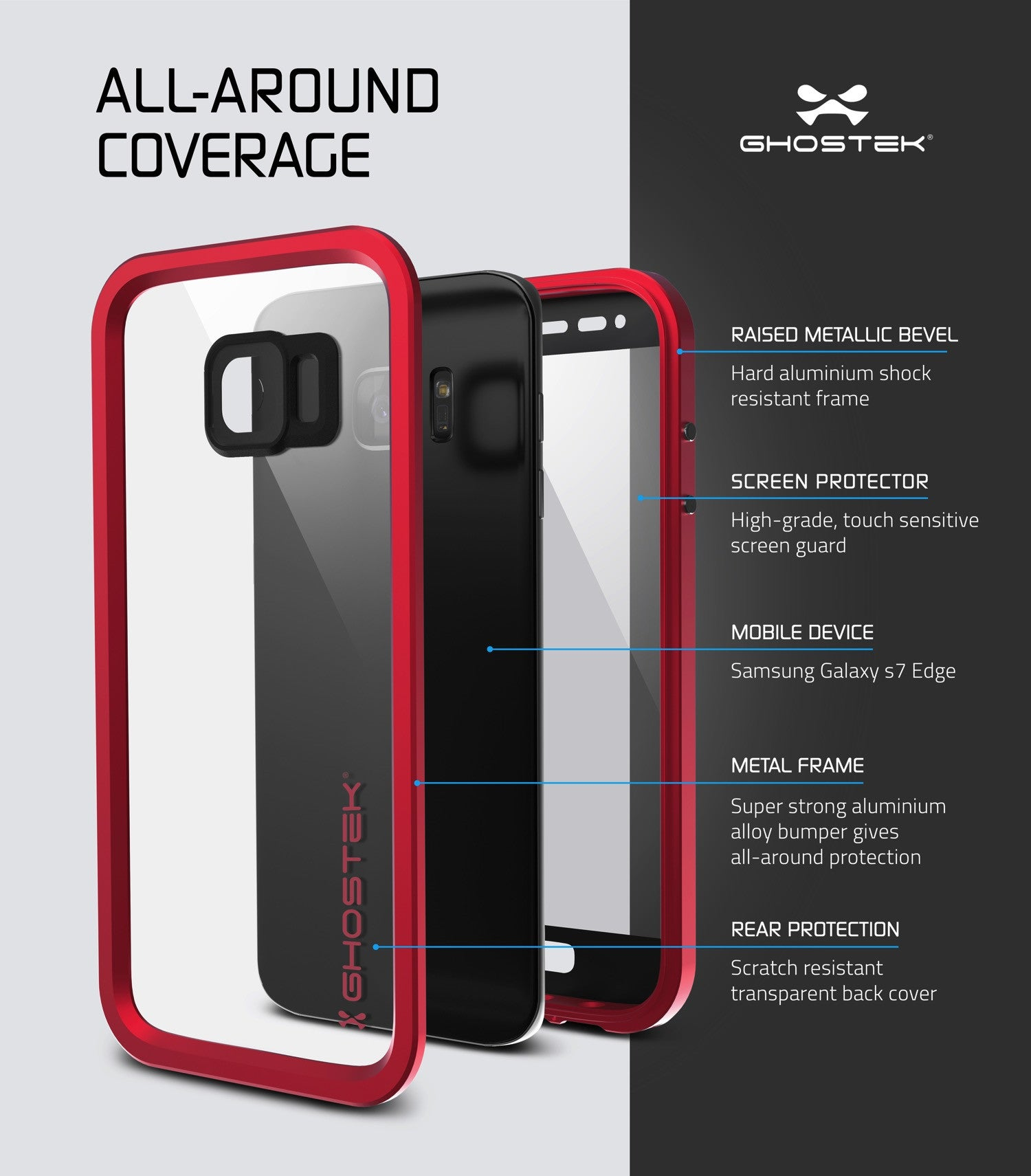 Galaxy S7 EDGE Waterproof Case, Ghostek Atomic 2.0 Red Shock/Dirt/Snow Proof | Lifetime Warranty