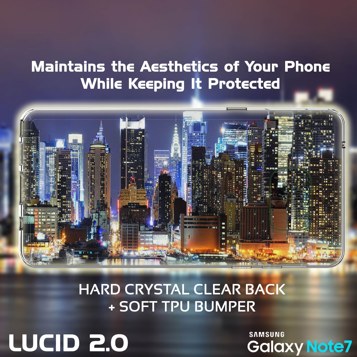Note 7 Case Punkcase® LUCID 2.0 Clear Series Series w/ PUNK SHIELD Screen Protector | Ultra Fit