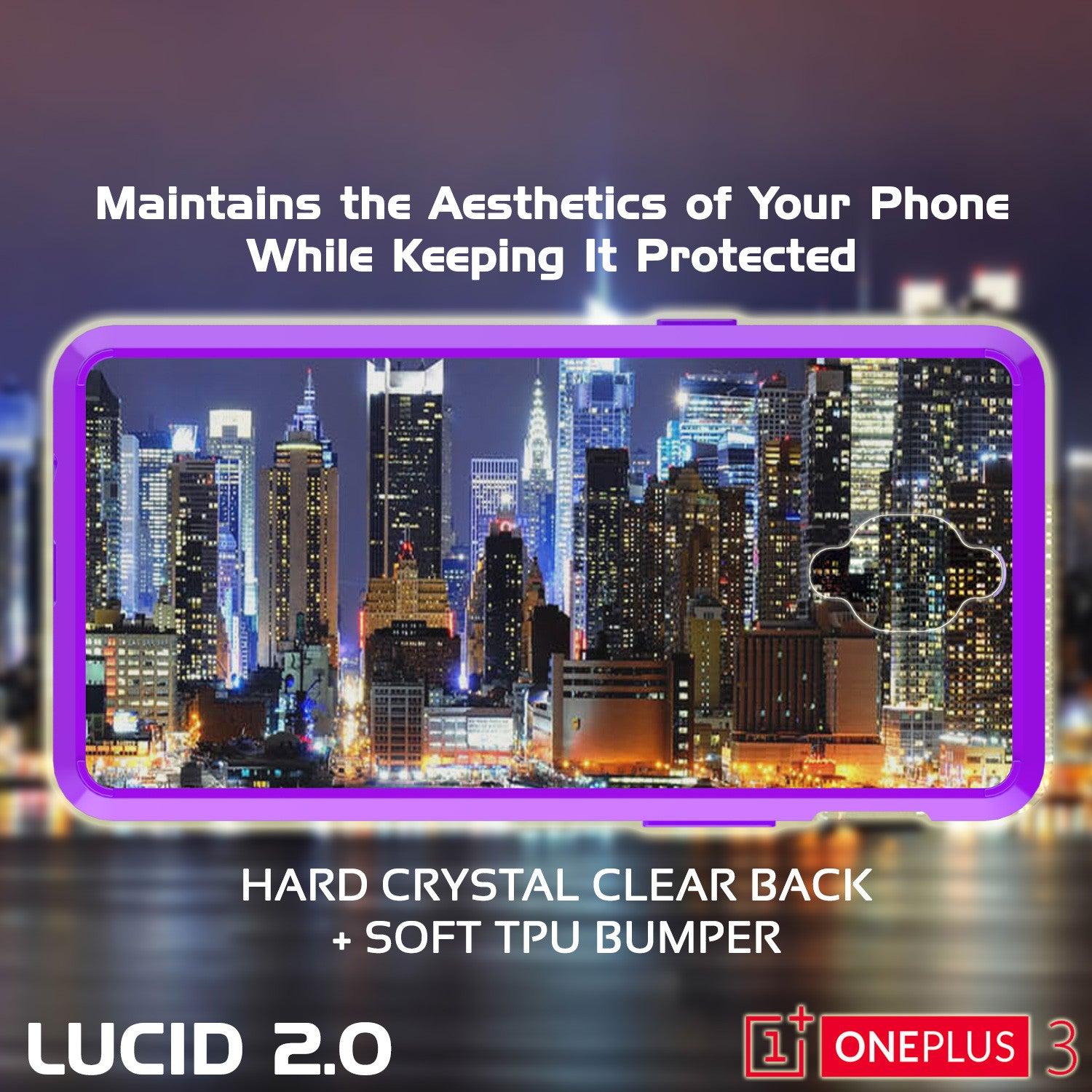 OnePlus 3 Case Punkcase® LUCID 2.0 Purple Series w/ SHIELD GLASS Lifetime Warranty Exchange