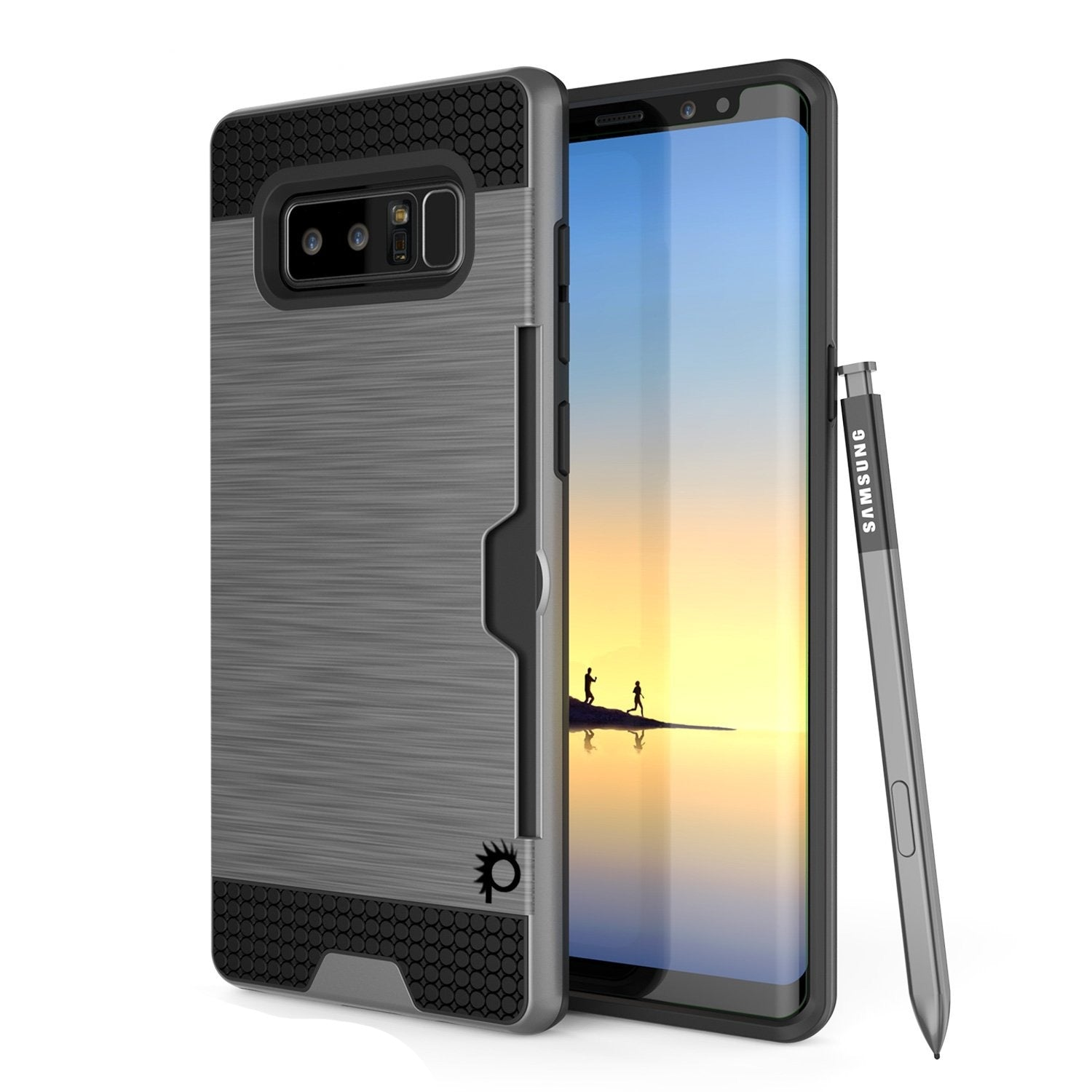 Galaxy Note 8 Dual-Layer Ultra Screen Protector Case W/ Card Slot [Grey]