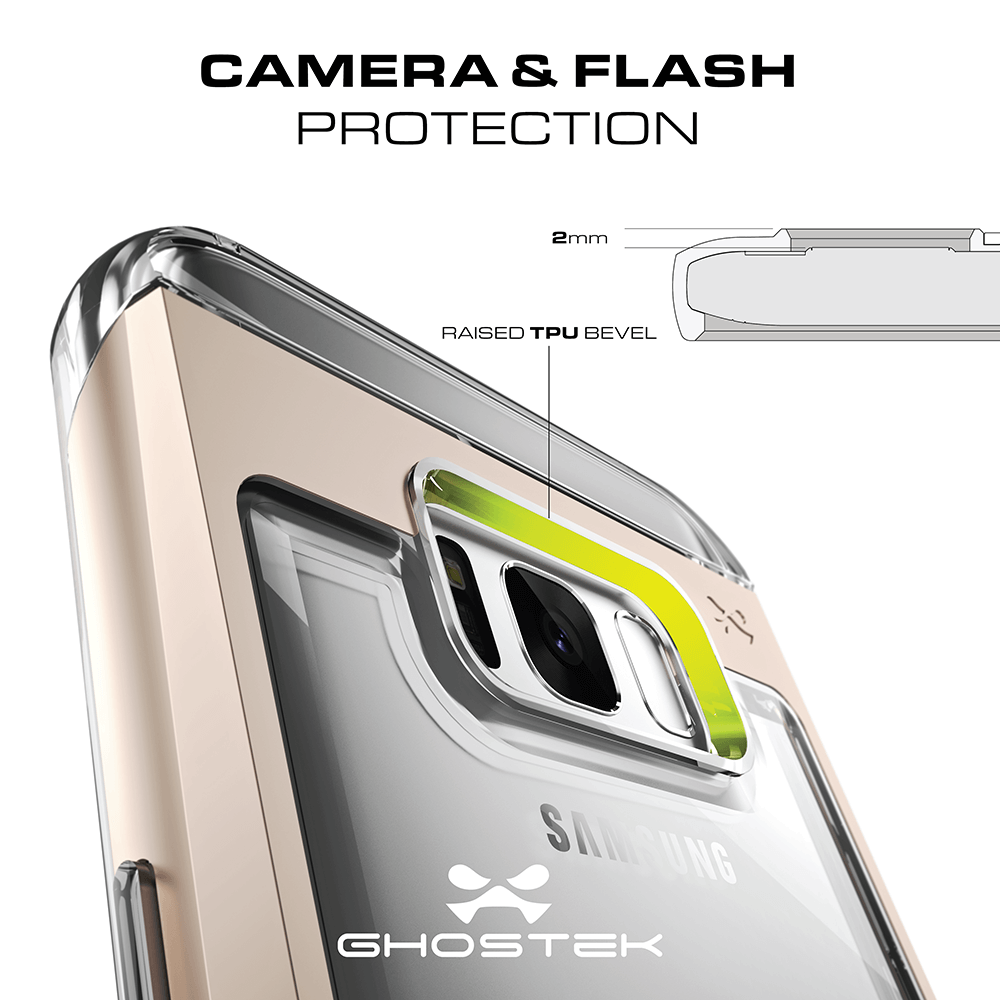 Galaxy S8 Case, Ghostek® Cloak 2.0 Gold w/ Explosion-Proof Screen Protector | Aluminum Frame