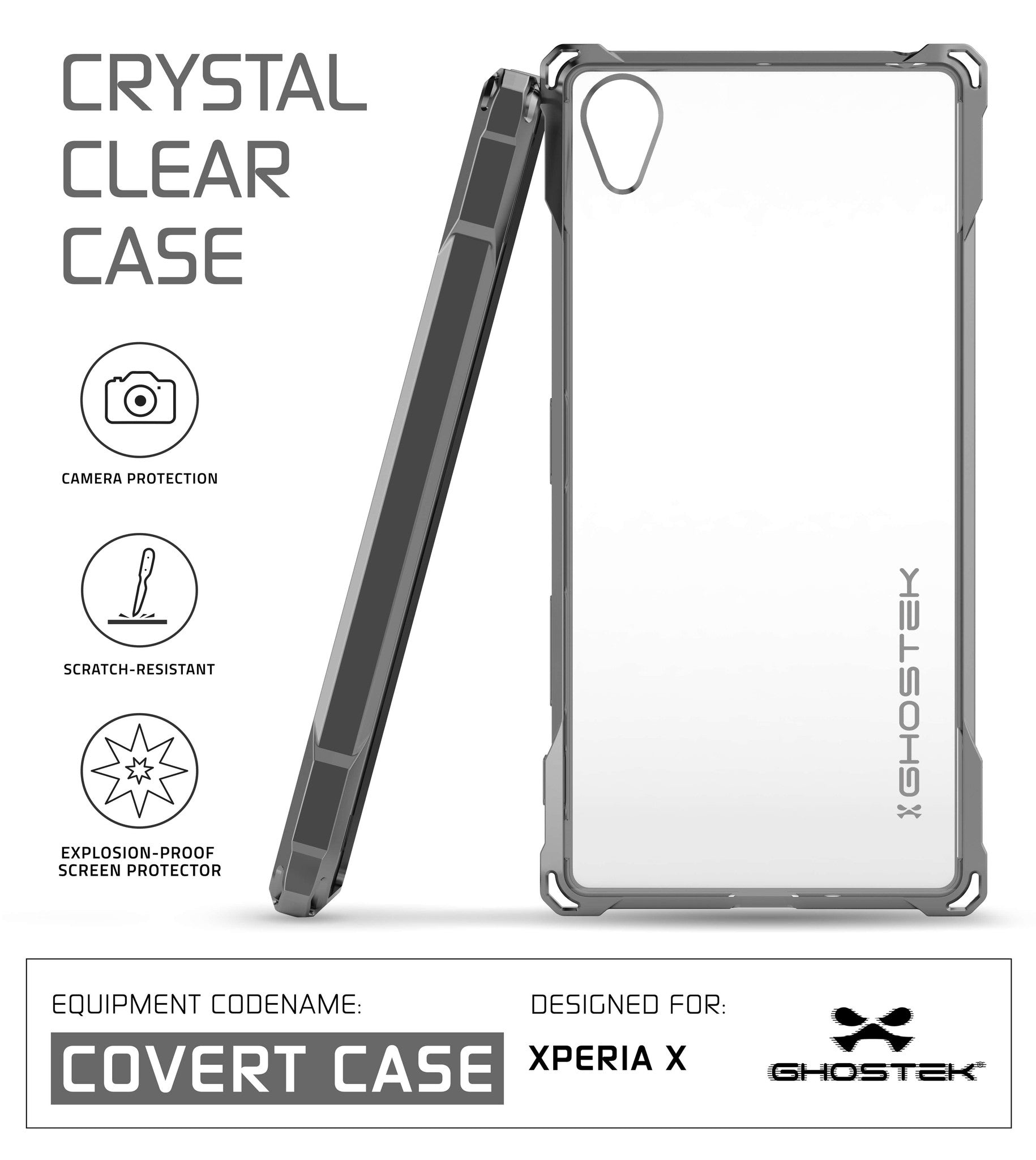 Xperia X Case, Ghostek Covert Dark Gray Series | Clear TPU | Warranty | Screen Protector | Ultra Fit