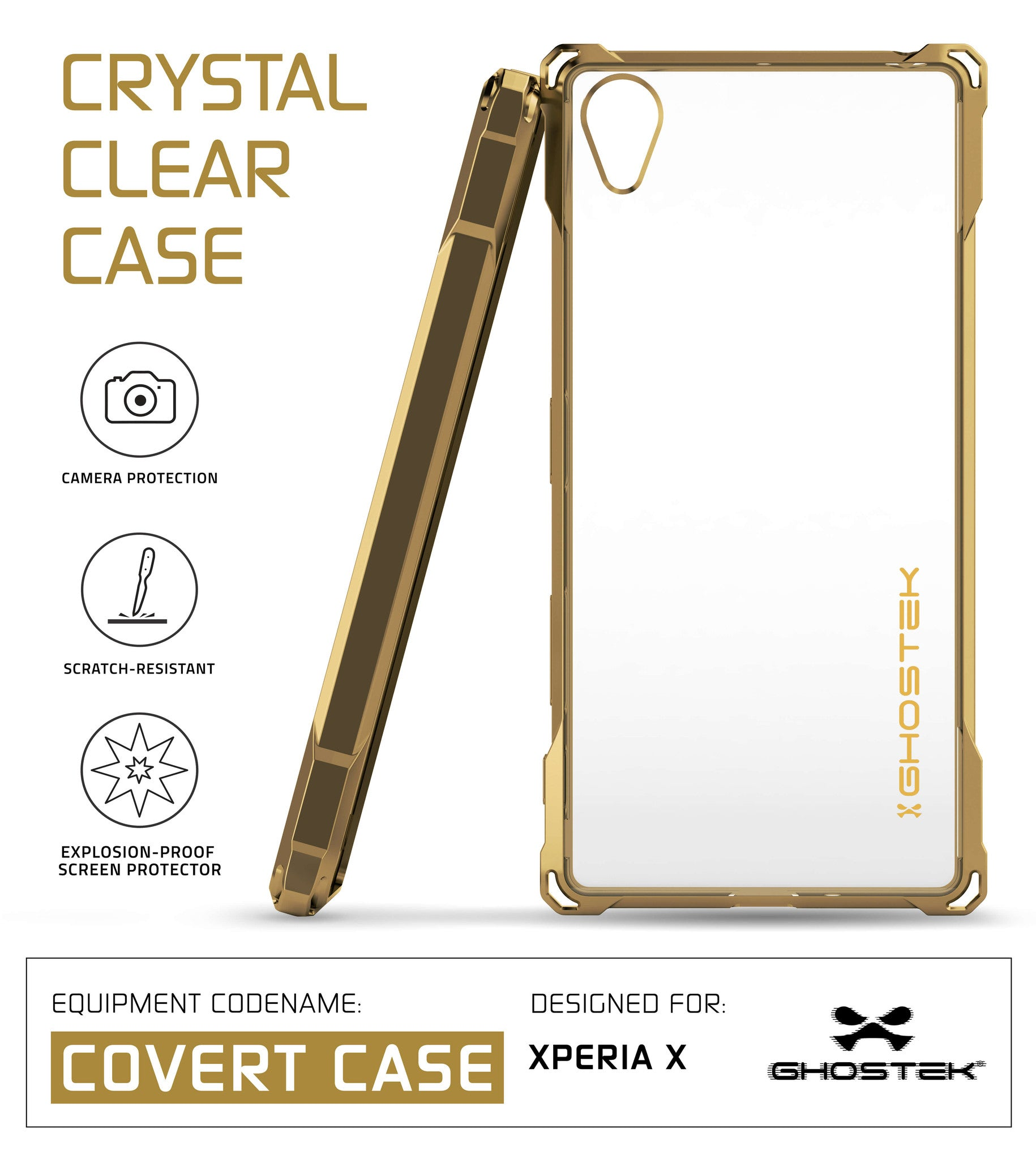 Xperia X Case, Ghostek® Covert Gold Series | Clear TPU | Warranty | Screen Protector | Ultra Fit