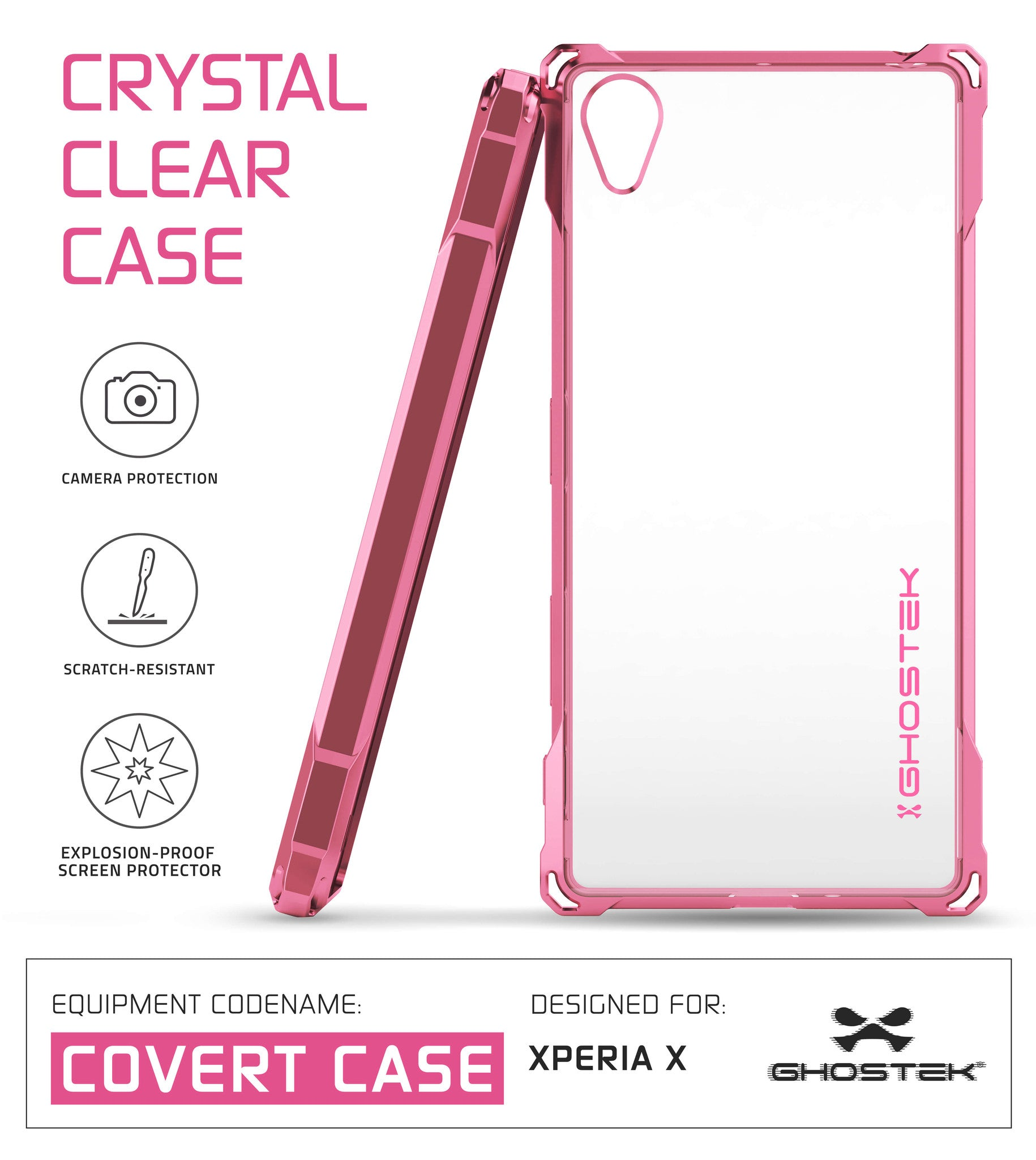 Xperia X Case, Ghostek® Covert Rose Pink  | Clear TPU | Warranty | Screen Protector | Ultra Fit