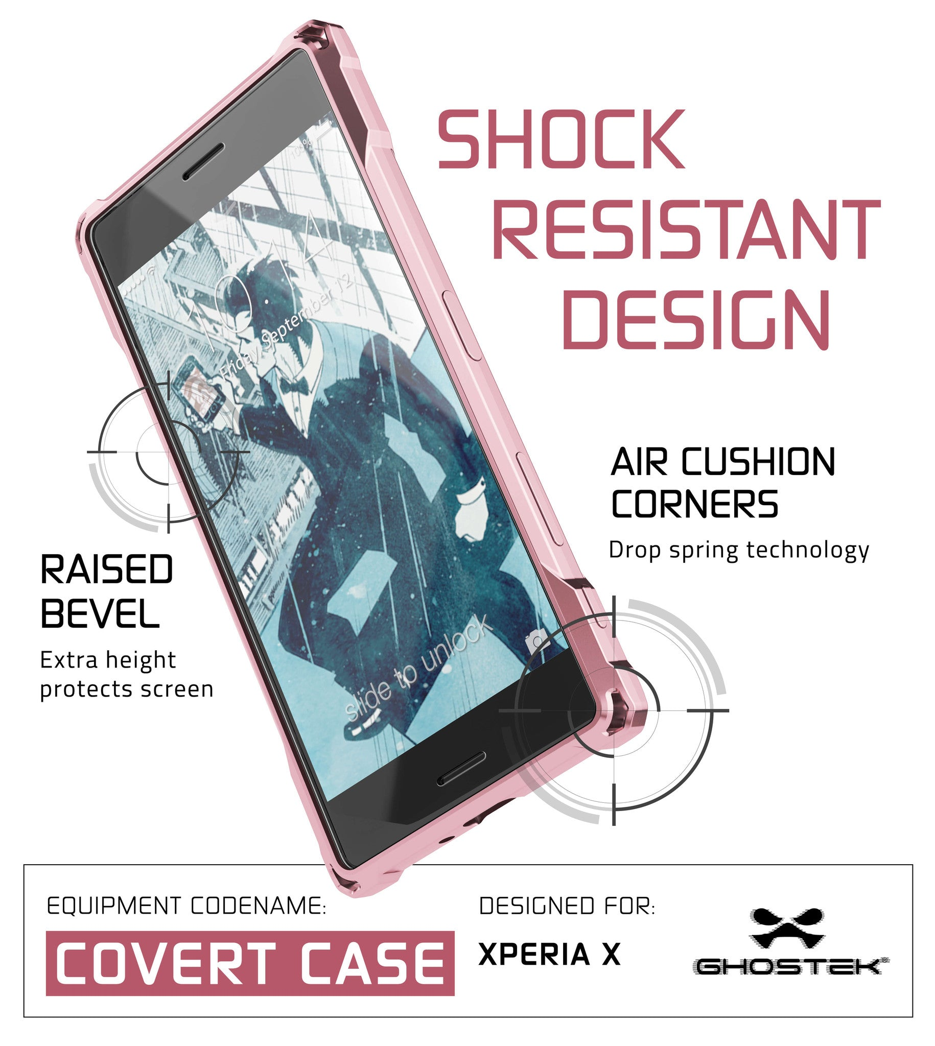 Xperia X Case, Ghostek® Covert Peach Seriesr | Clear TPU | Warranty | Screen Protector | Ultra Fit