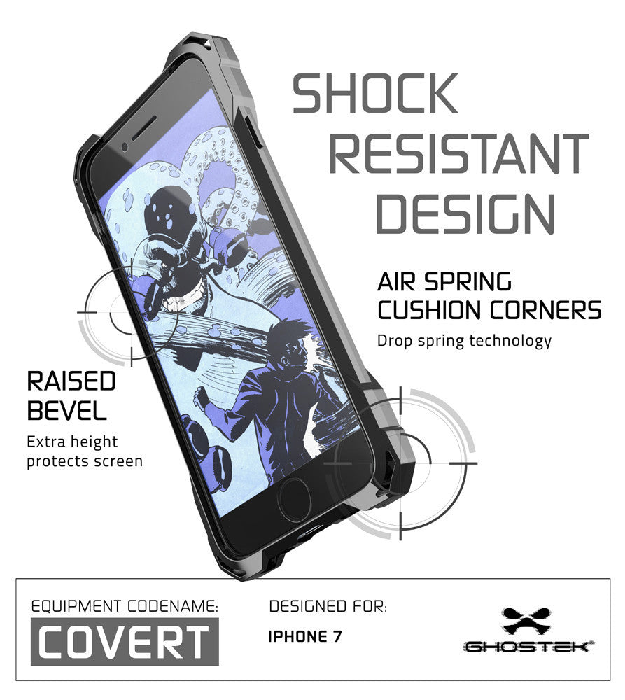 iPhone 7+ Plus Case, Ghostek® Covert Space Grey, Premium Impact Armor | Lifetime Warranty Exchange