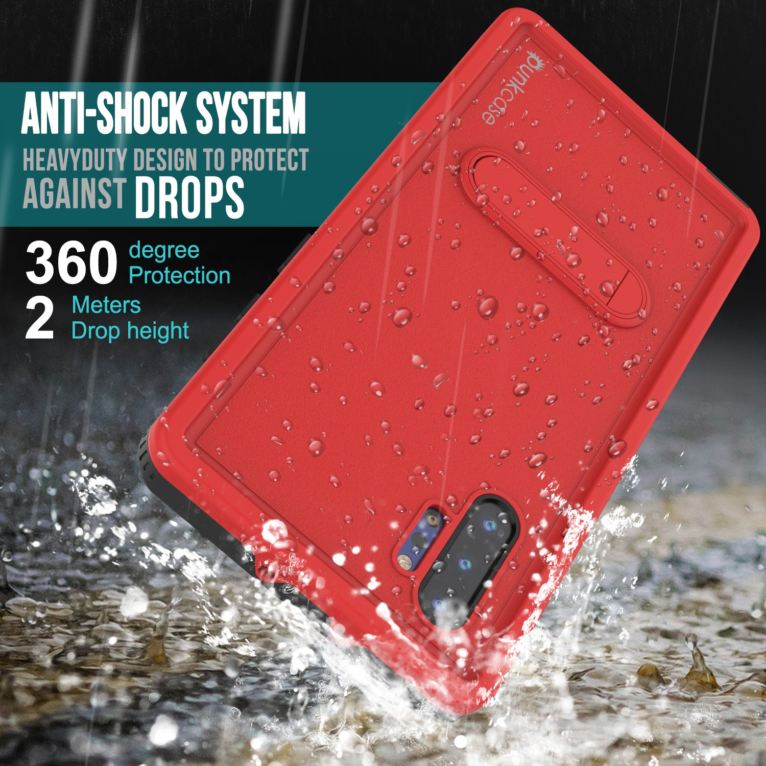 PunkCase Galaxy Note 10+ Plus Waterproof Case, [KickStud Series] Armor Cover [Red]