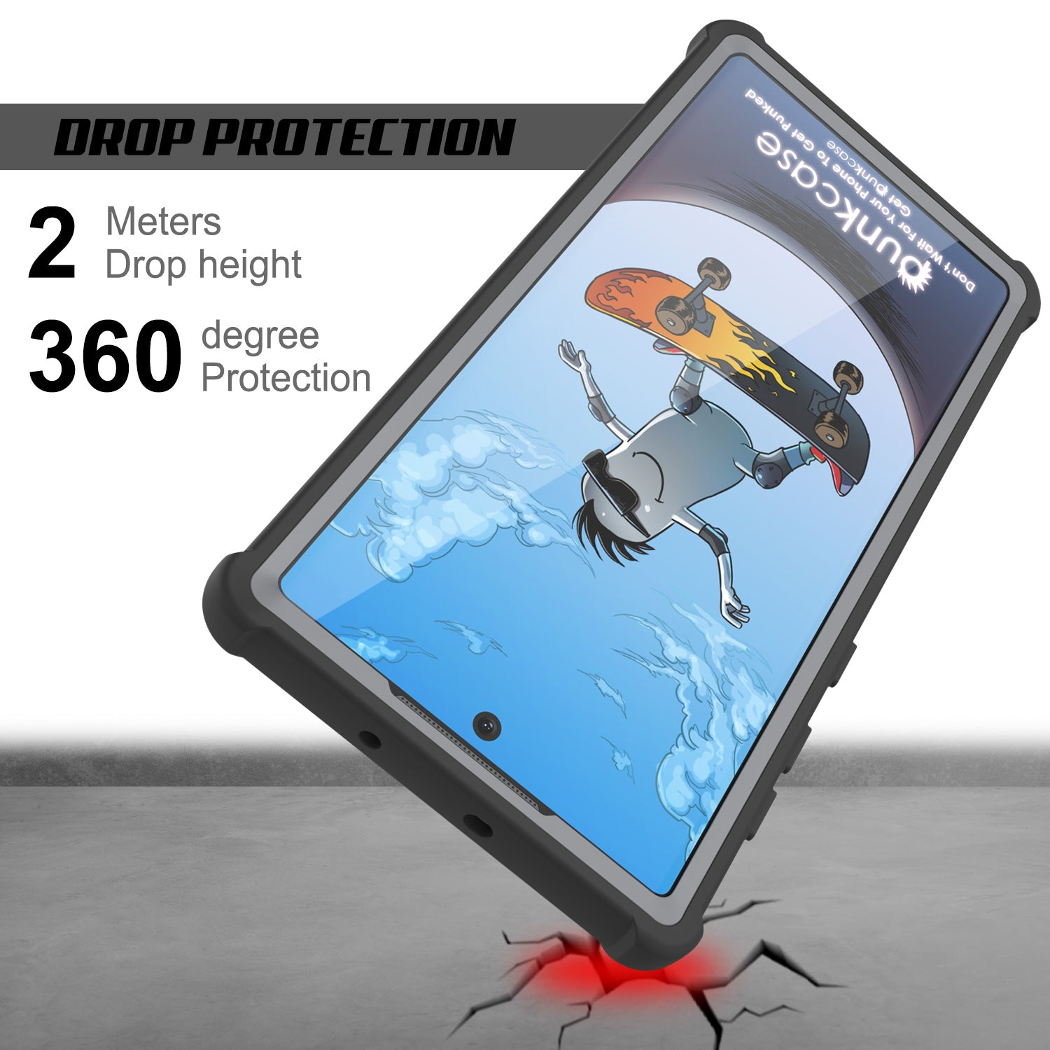 Punkcase Galaxy Note 10 Case, [Spartan Series] Black Rugged Heavy Duty Cover W/Built in Screen Protector