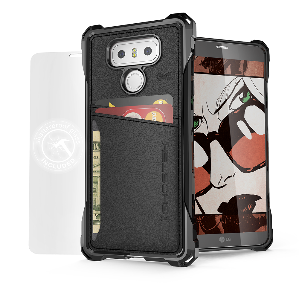 LG G6 Wallet Case, Ghostek Exec Black Series | Slim Armor Hybrid Impact Bumper | TPU PU Leather Credit Card Slot Holder Sleeve Cover