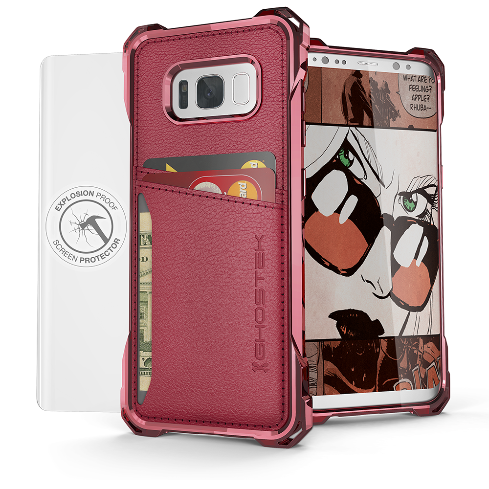 Galaxy S8 Wallet Case, Ghostek Exec Red Series | Slim Armor Hybrid Impact Bumper | TPU PU Leather Credit Card Slot Holder Sleeve Cover