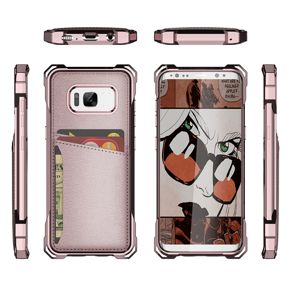 Galaxy S8 Wallet Case, Ghostek Exec Pink Series | Slim Armor Hybrid Impact Bumper | TPU PU Leather Credit Card Slot Holder Sleeve Cover