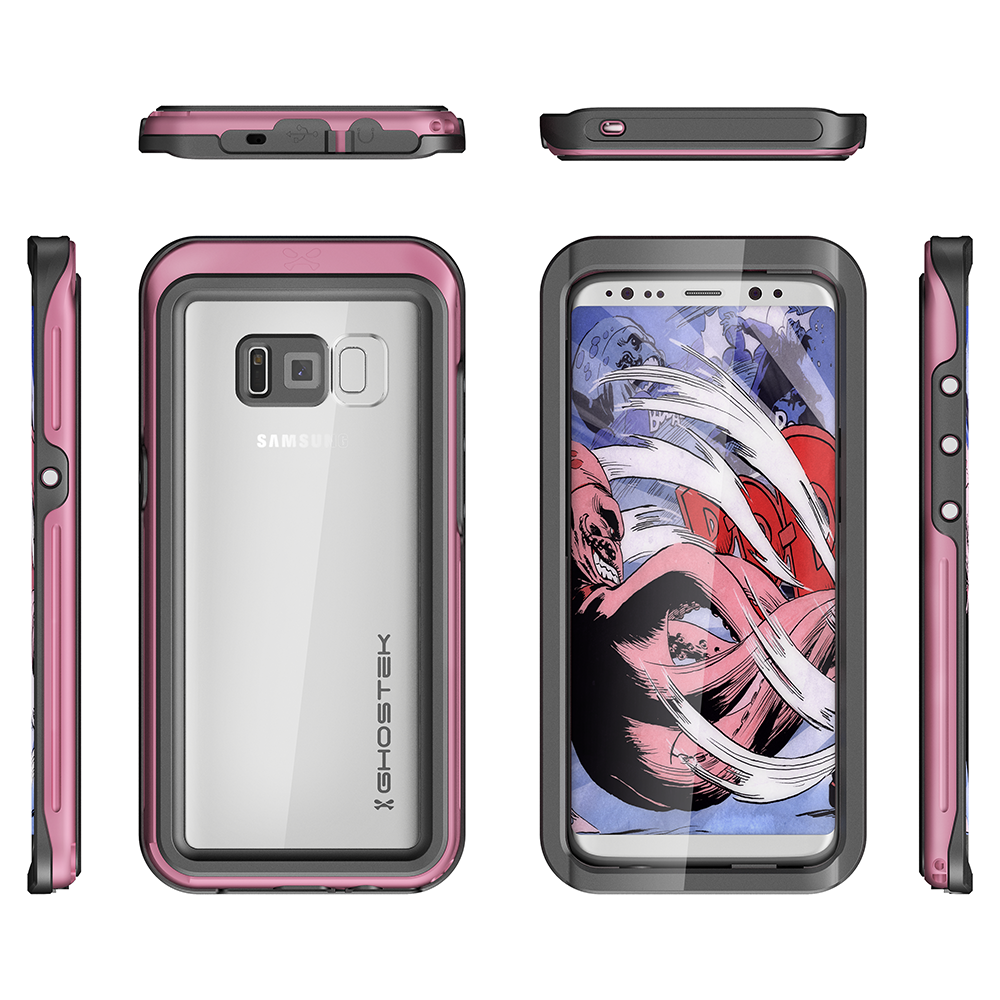 Galaxy S8 Waterproof Case, Ghostek Atomic 3 Pink Series | Underwater | Adventure Ready | Ultra Fit | Swimming