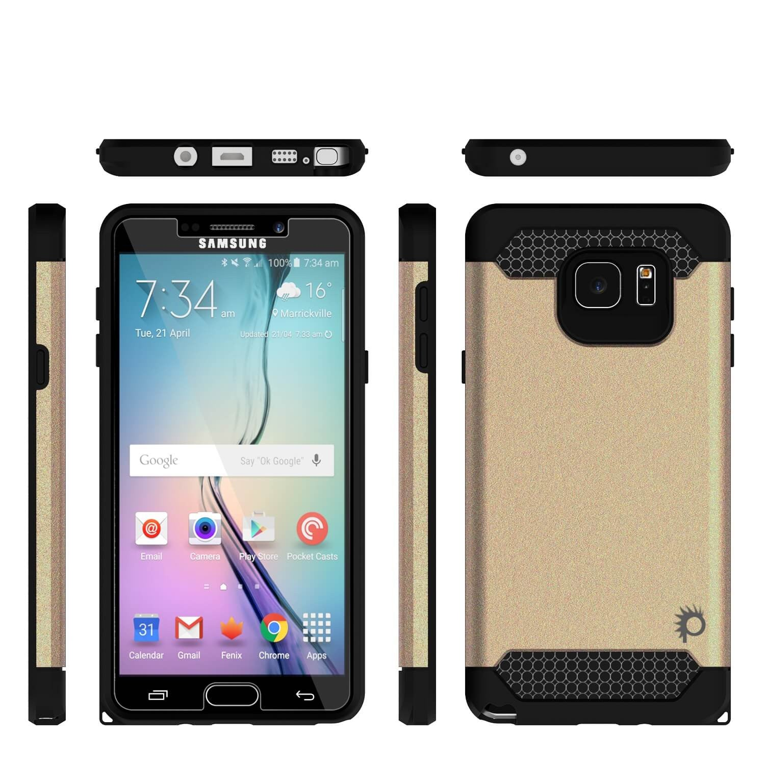 Galaxy Note 5 Case PunkCase Galactic Gold Series  Slim Armor Soft Cover Case w/ Tempered Glass