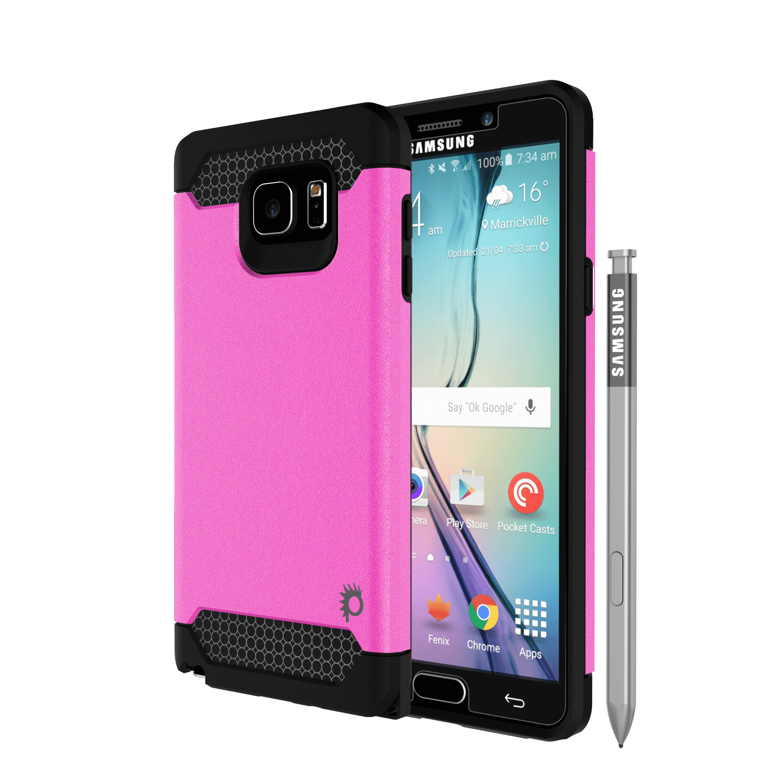 Galaxy Note 5 Case PunkCase Galactic Pink Series Slim Armor Soft Cover Case w/ Tempered Glass