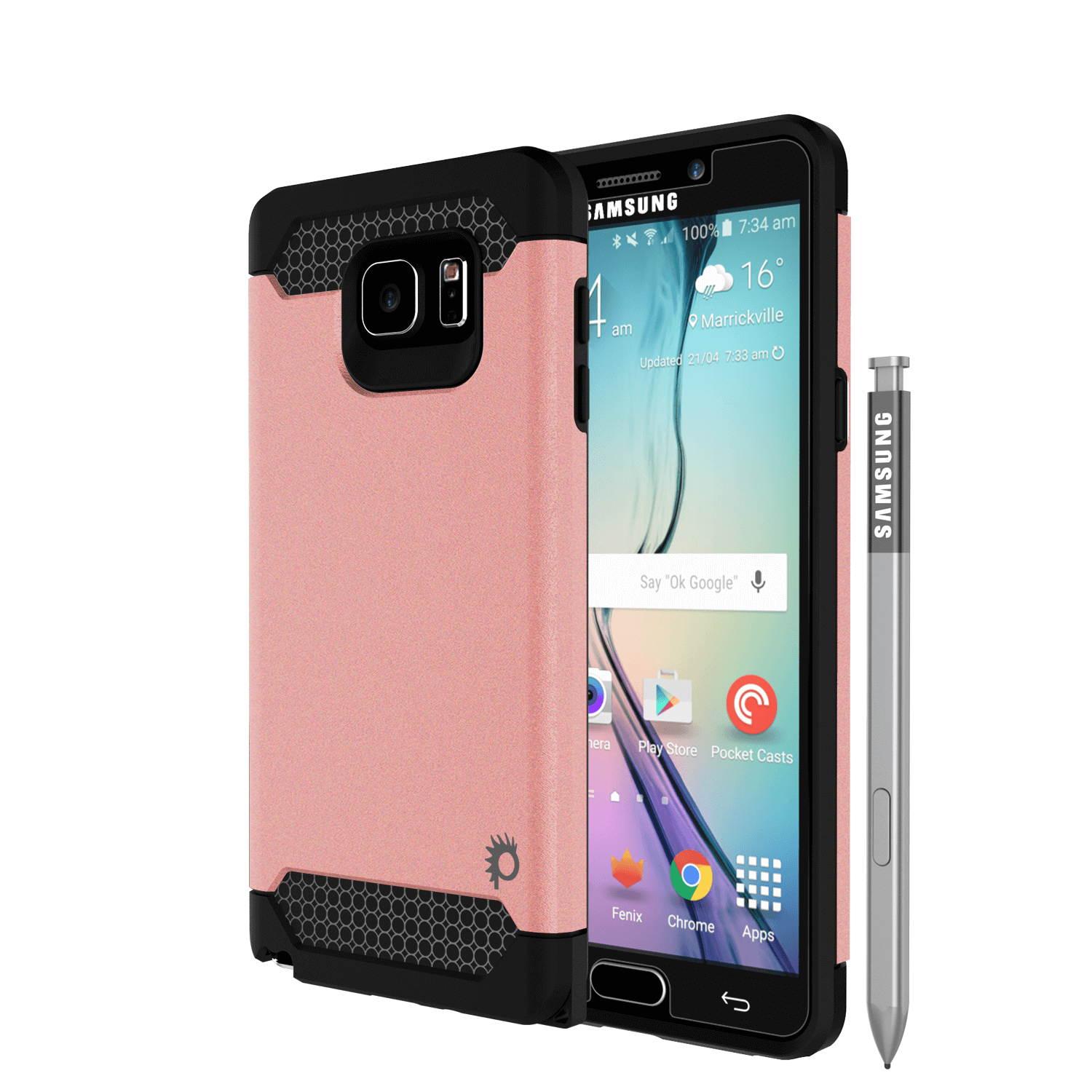 Galaxy Note 5 Case PunkCase Galactic Rose Gold Slim Armor Soft Cover Case w/ Tempered Glass