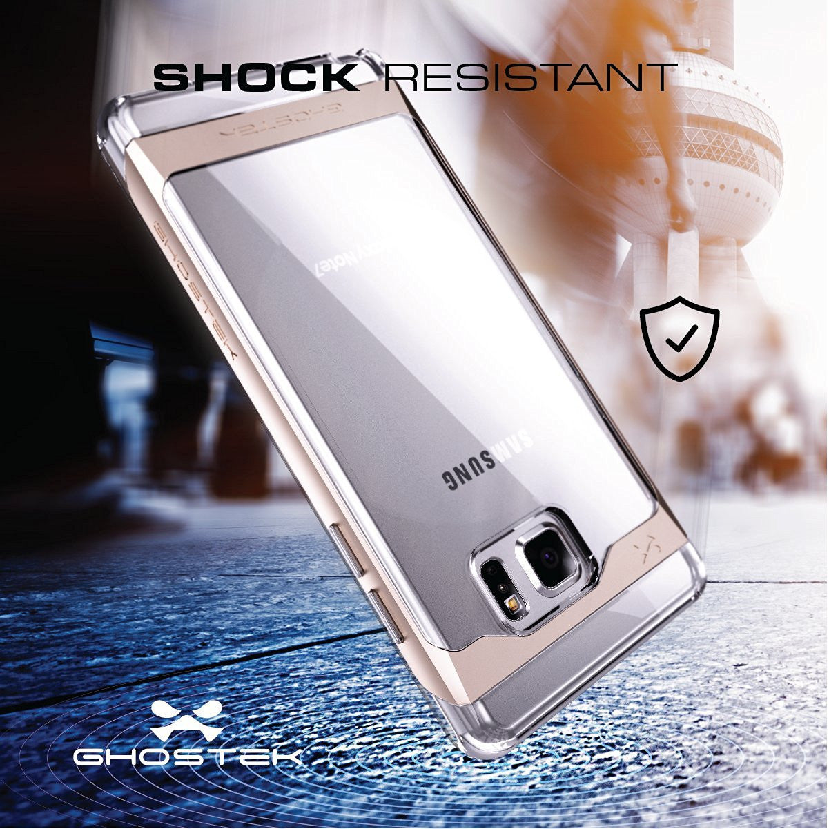 Galaxy Note 7 Case, Ghostek® 2.0 Silver Series w/ Explosion-Proof Screen Protector | Aluminum Frame