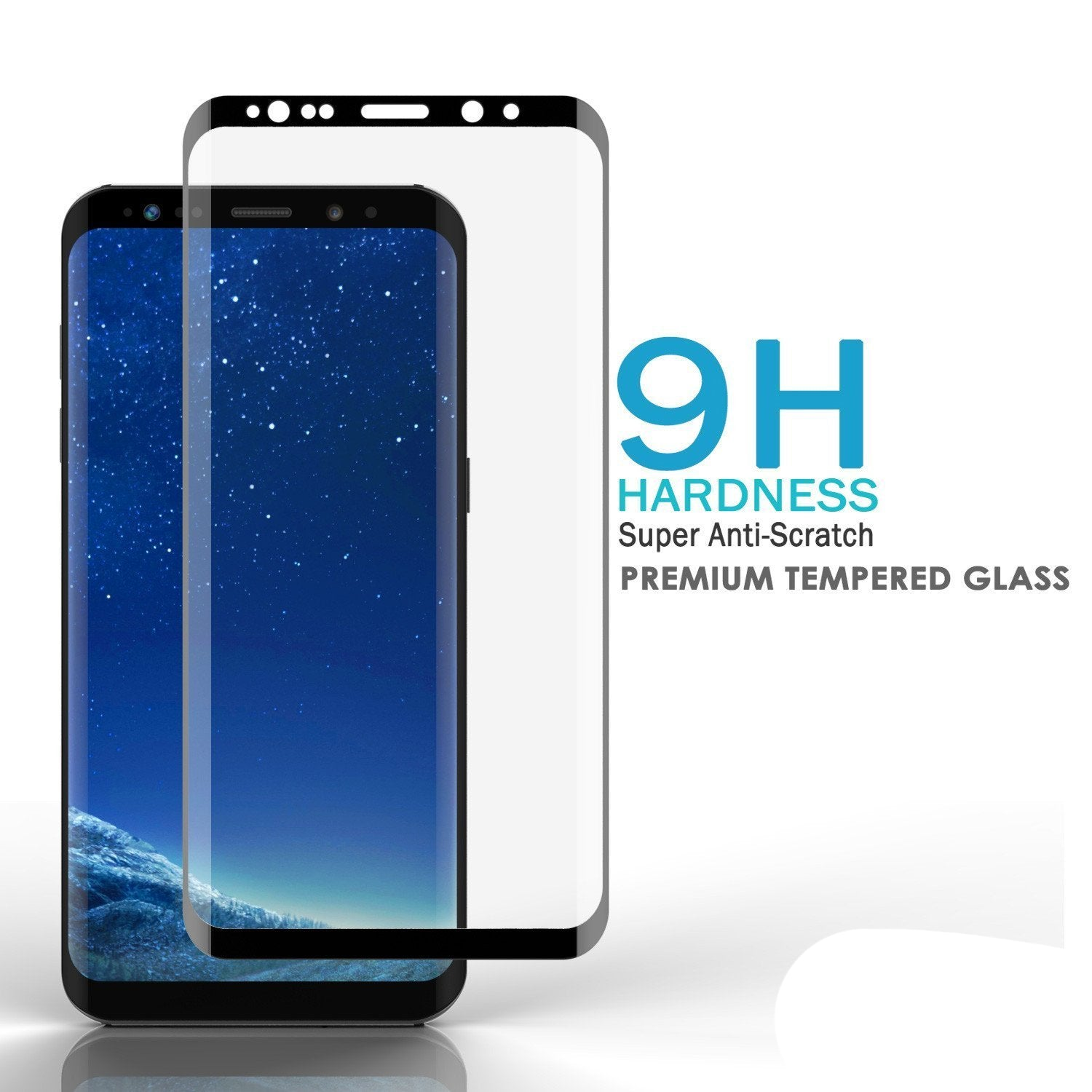 Galaxy S8+ Plus  Black Punkcase Glass SHIELD Tempered Glass Screen Protector 0.33mm Thick 9H Glass