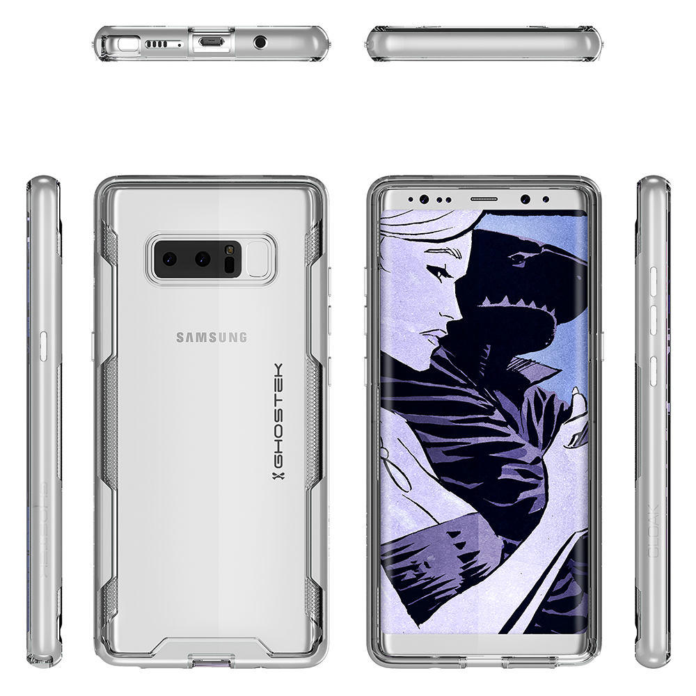 Galaxy Note 8 Case, Ghostek Cloak 3 Galaxy Note 8 Clear Transparent Bumper Case Note8 2017 | SILVER
