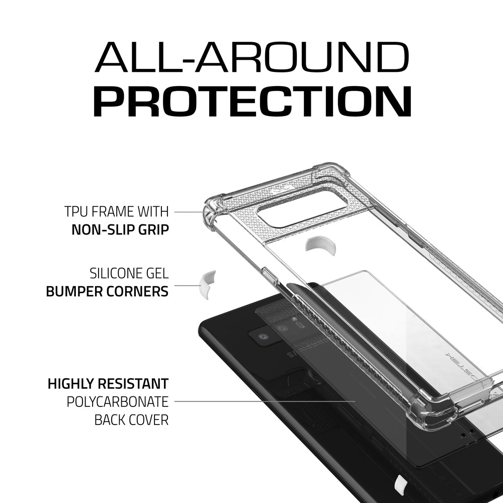 Galaxy Note 8 Ultra Shock Drop Protection Metal Case | White