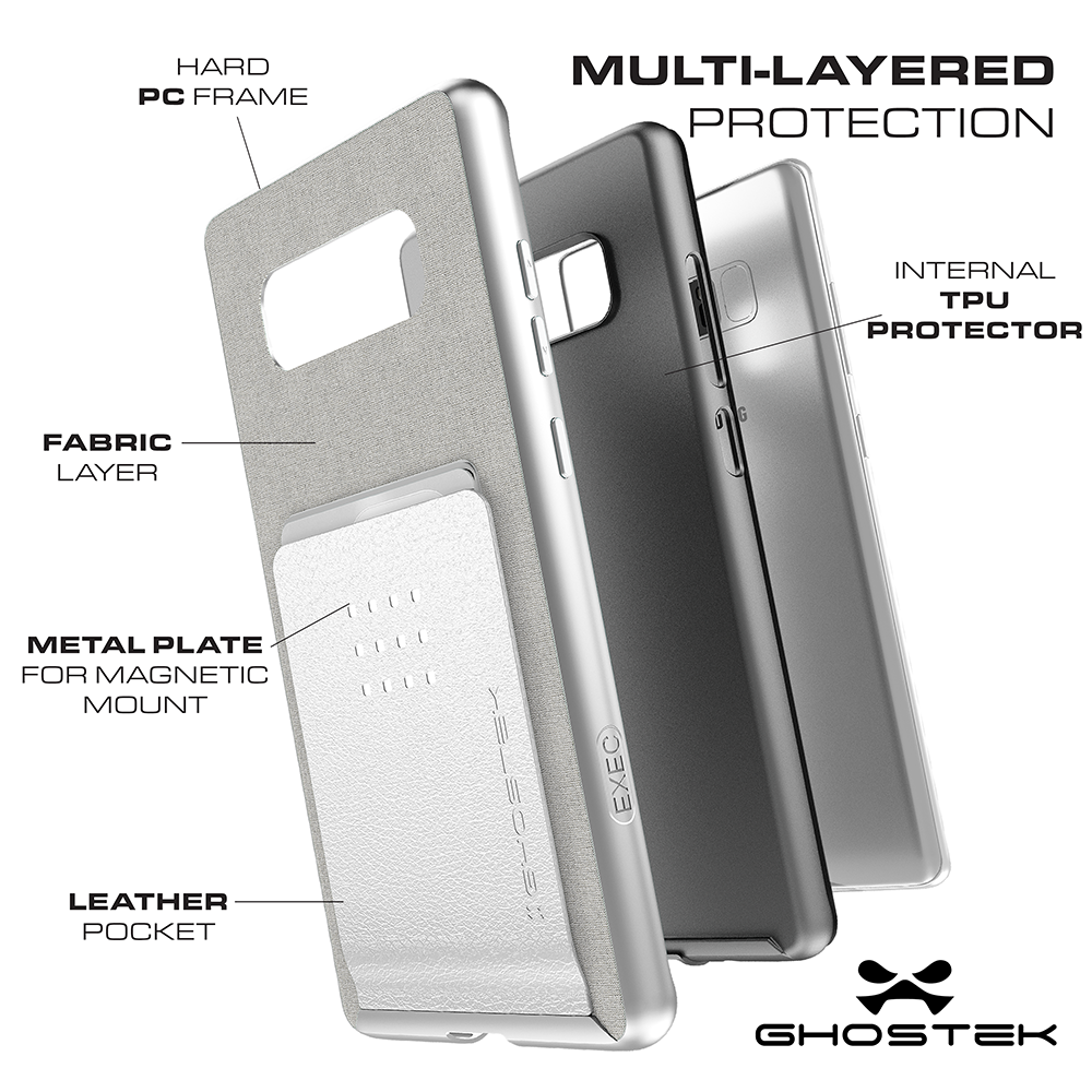 Galaxy Note 8 Case, Ghostek Exec 2 Slim Hybrid Impact Wallet Case for Samsung Galaxy Note 8 Armor | Silver