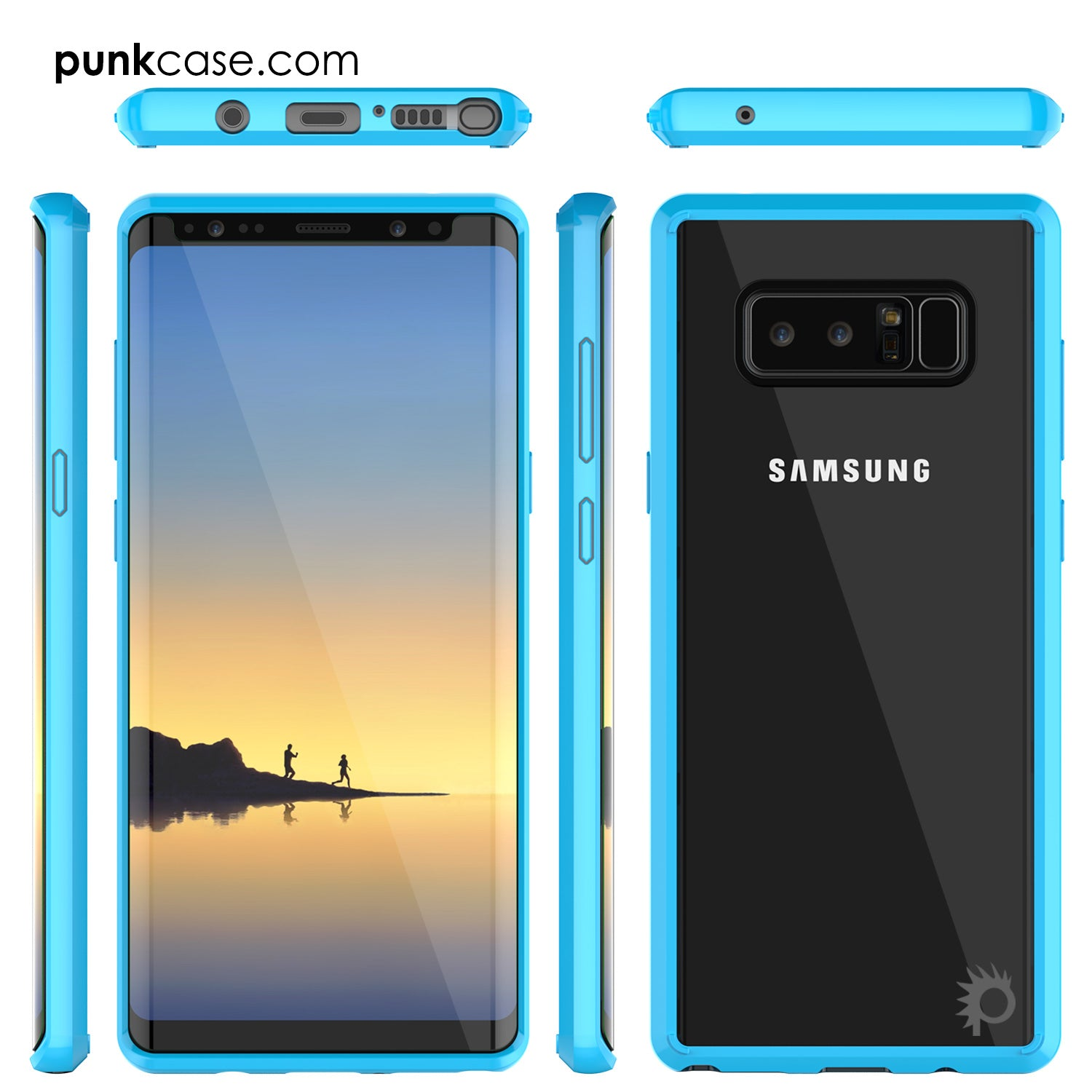 Galaxy Note 8 Screen Protector W/ Anti-Shock Proof Case [Light Blue]