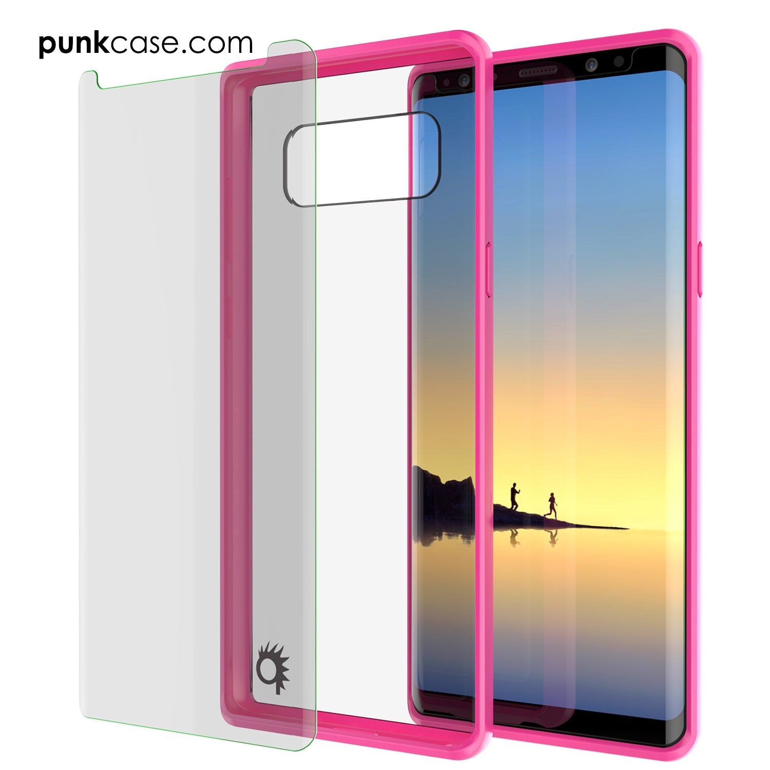 Galaxy Note 8 Screen Protector W/ Anti-Shock Proof Slim Case [Pink]