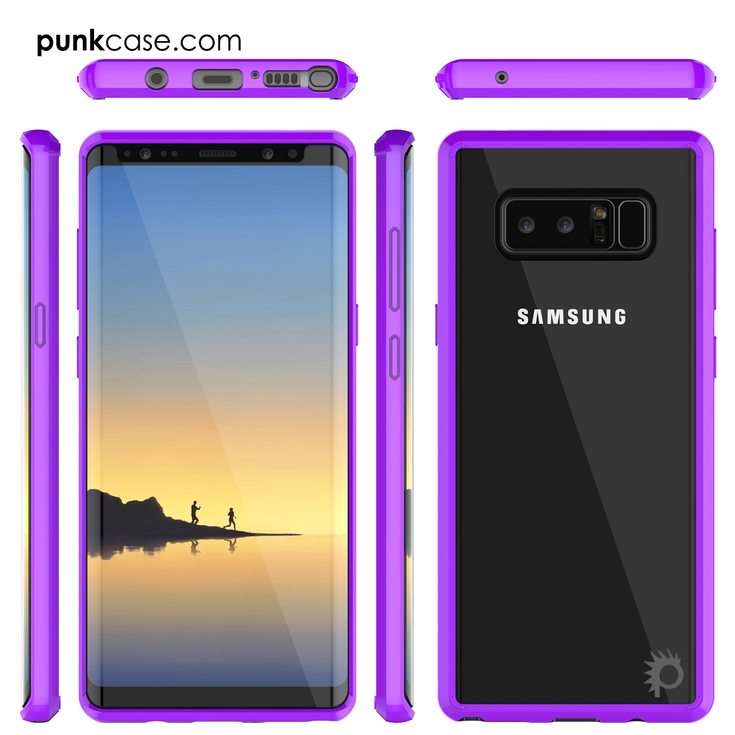 Galaxy Note 8 Screen Protector W/ Anti-Shock Proof Slim Case [Purple]