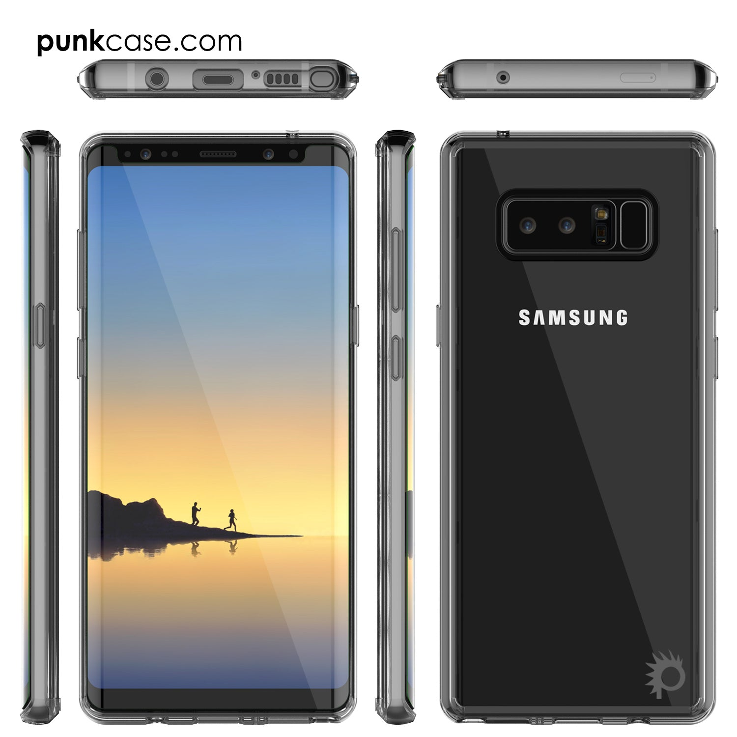 Galaxy Note 8 Case, PUNKcase [LUCID 2.0 Series] [Slim Fit] Armor Cover w/Integrated Anti-Shock System & PUNKSHIELD Screen Protector [Crystal Black]